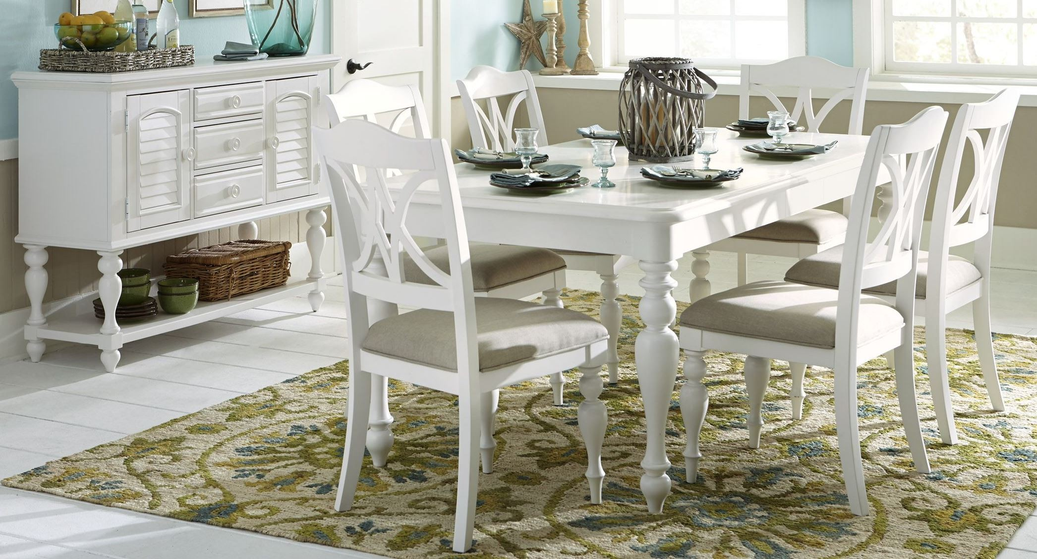 Summer house oyster white rectangular leg dining room set for White dining room furniture