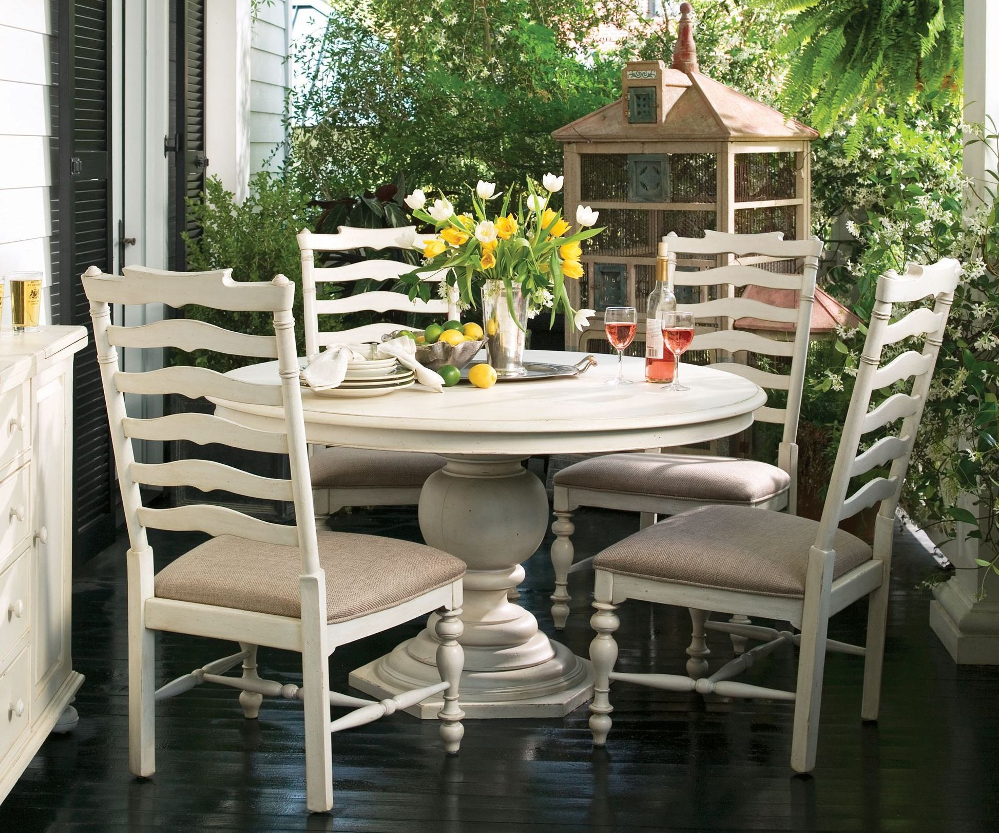 Paula deen home round oval pedestal table set in linenbypaula deen home home gallery
