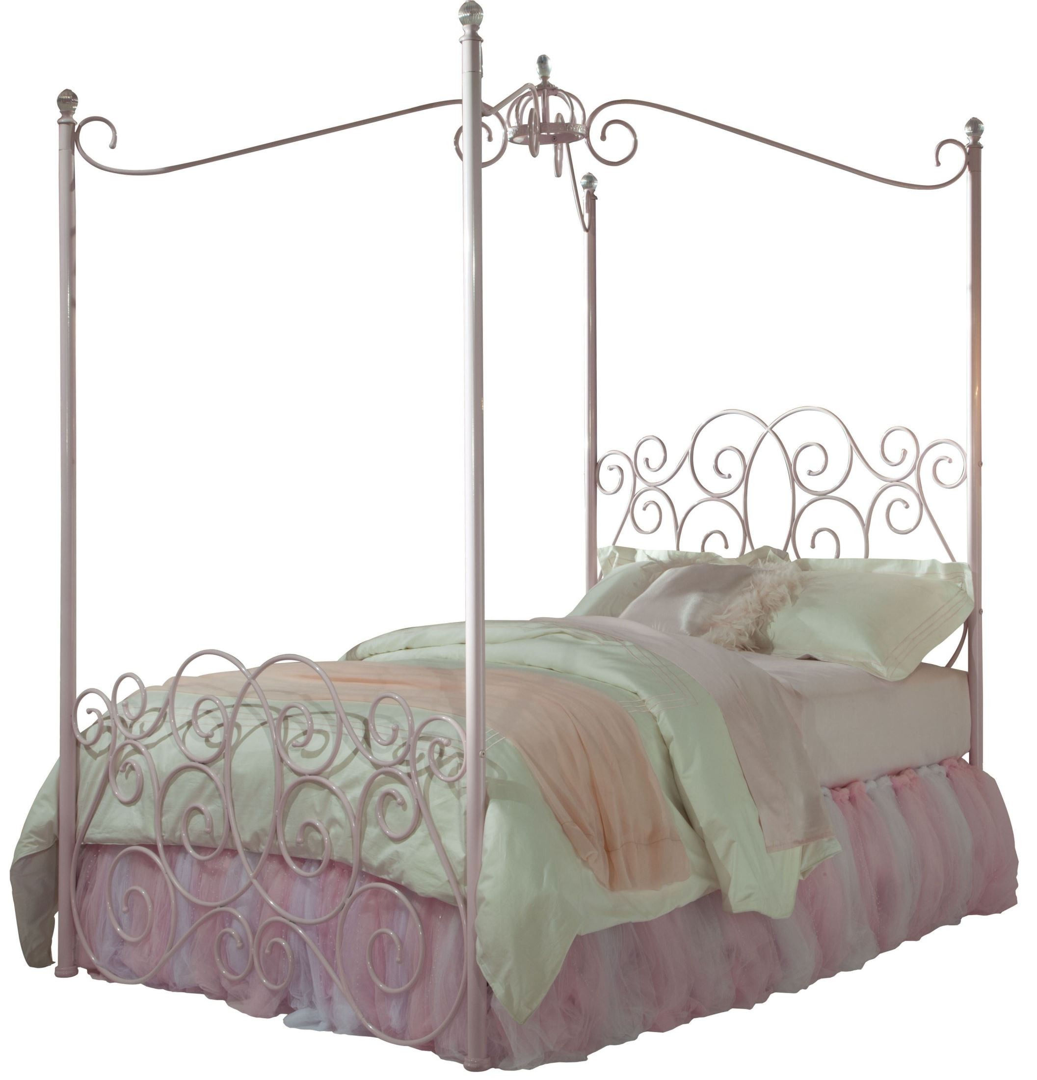 princess pink full metal canopy bed from standard. Black Bedroom Furniture Sets. Home Design Ideas