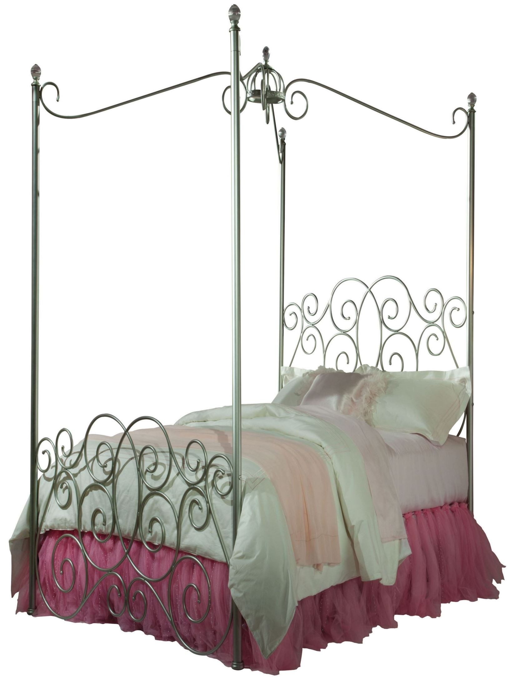 Princess Silver Twin Metal Canopy Bed From Standard