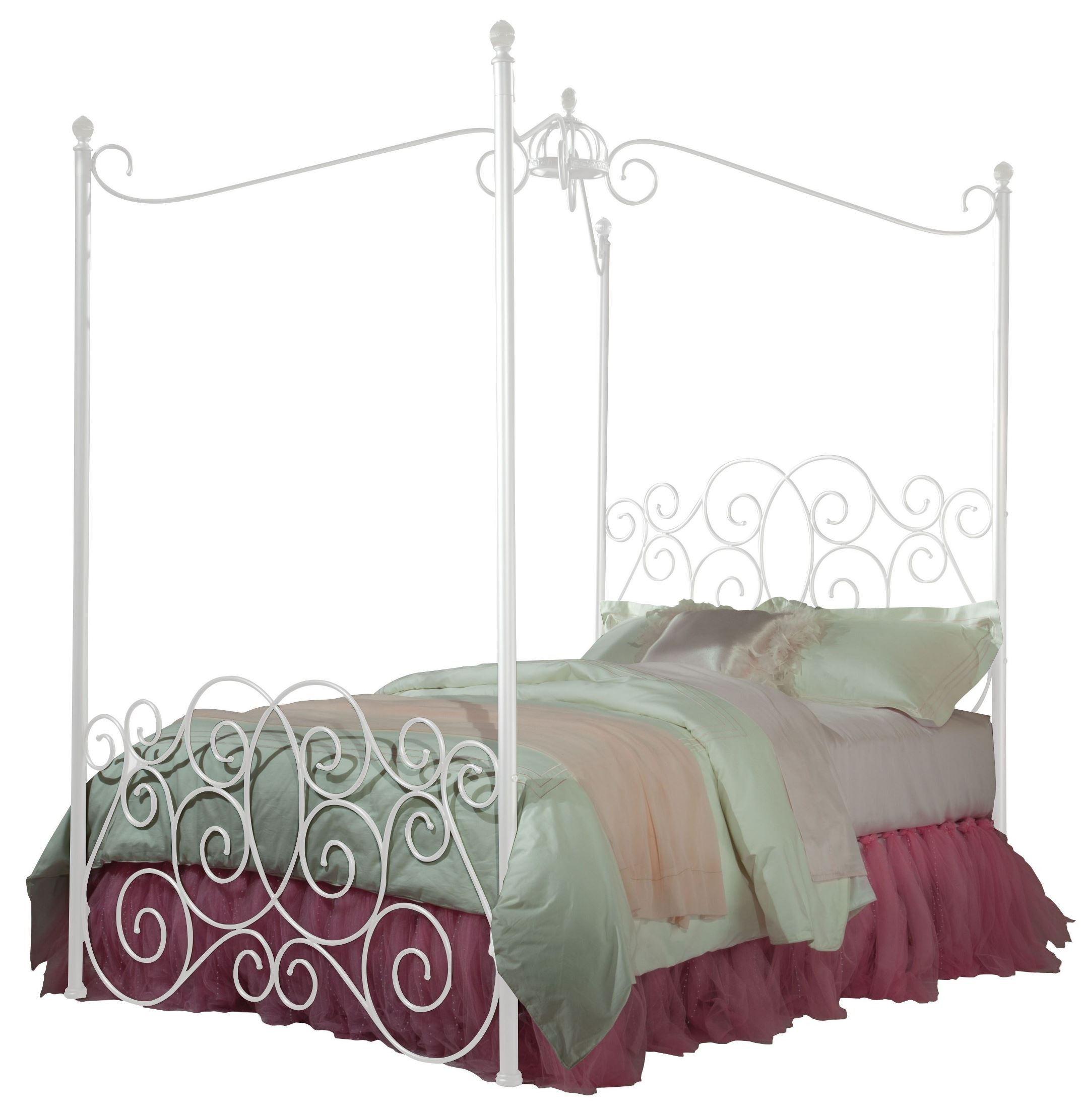Princess White Twin Metal Canopy Bed From Standard