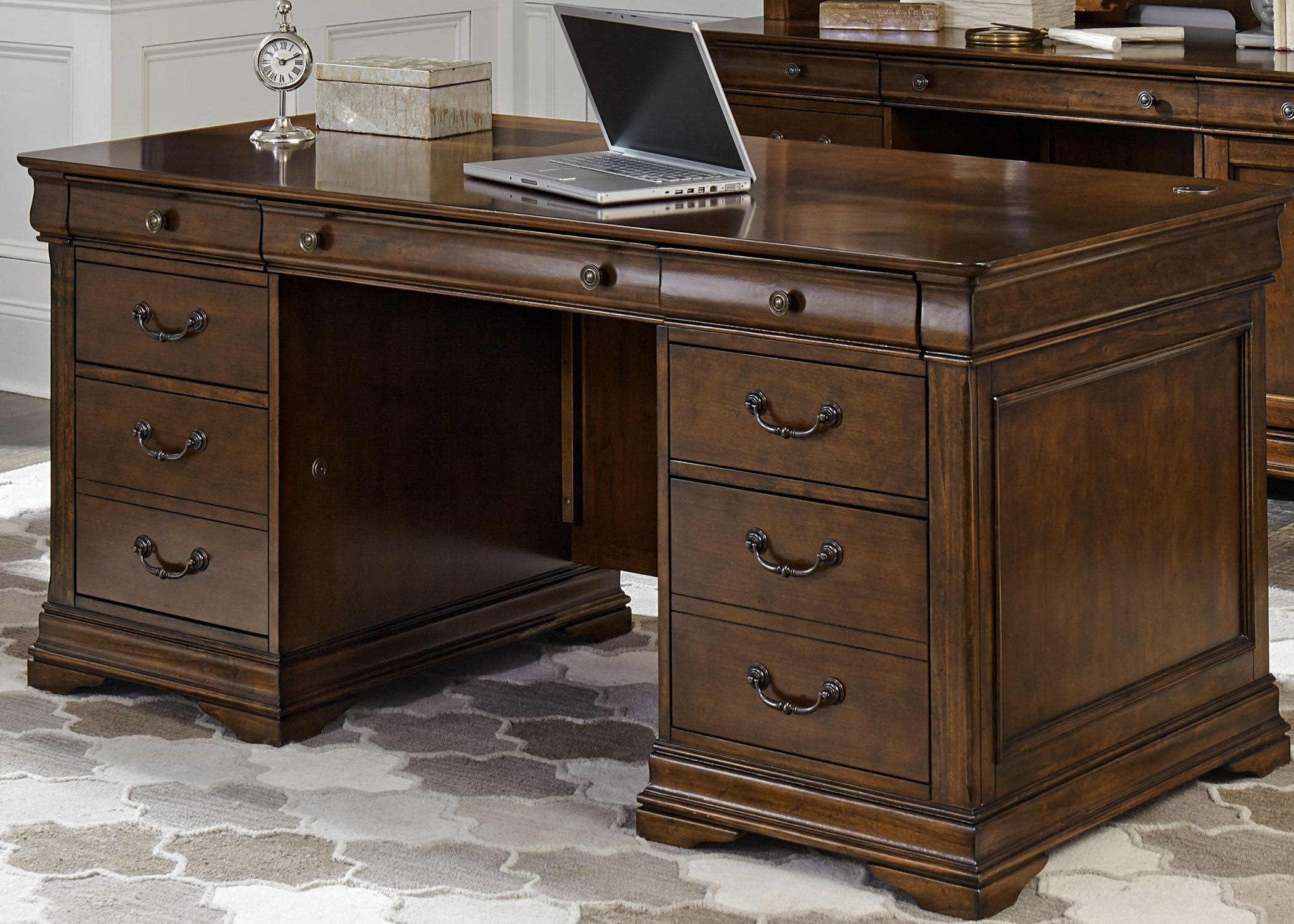 Chateau Valley Brown Cherry Jr Executive Desk From Liberty