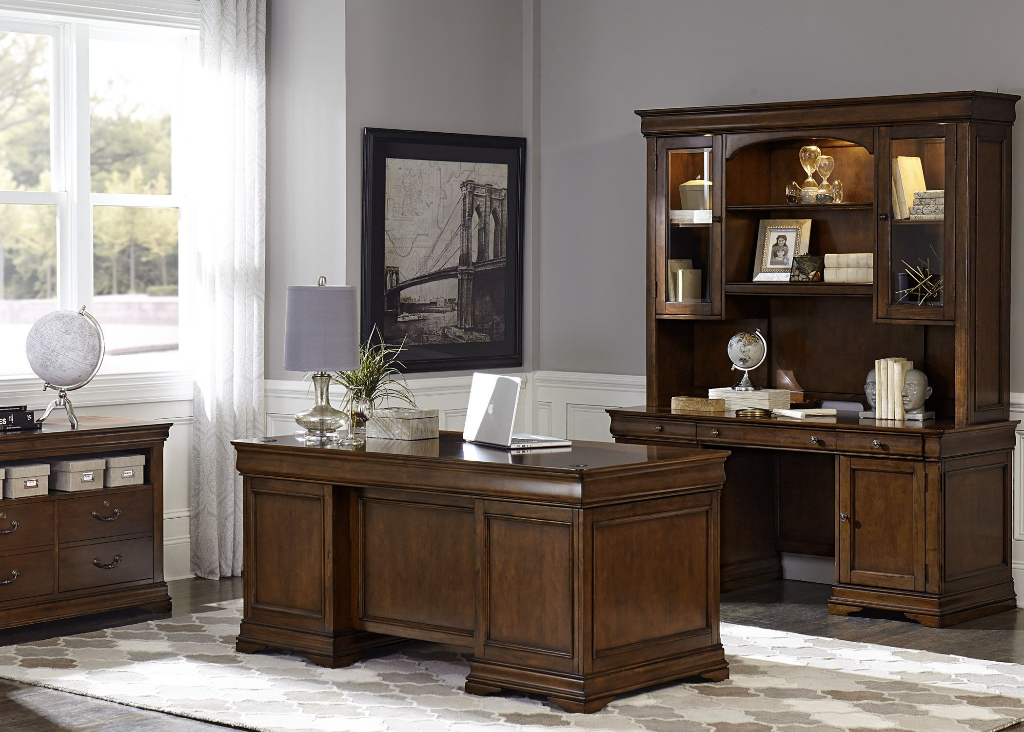 Chateau Valley Brown Cherry Home Office Set From Liberty