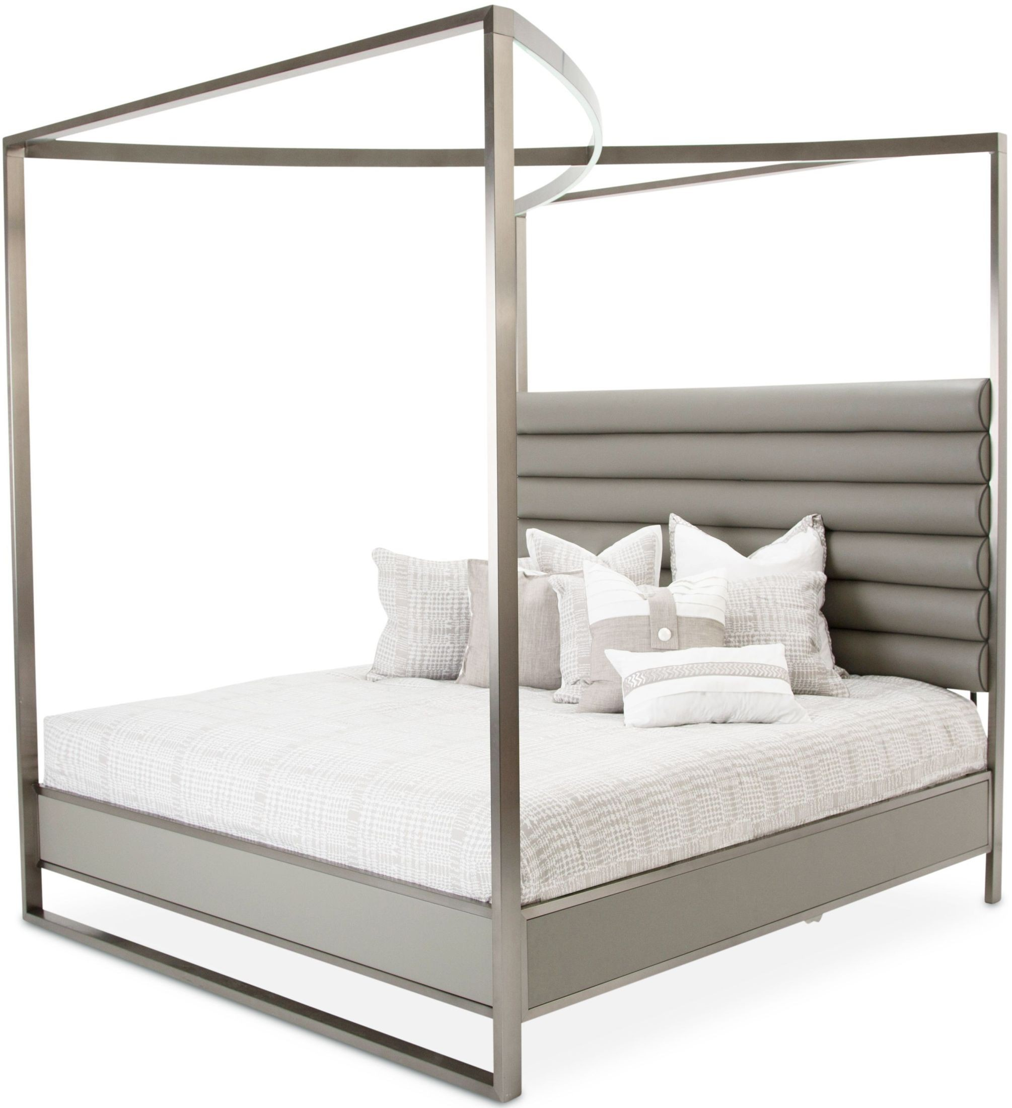 Metro Lights Midnight King Metal Canopy Bed From Aico