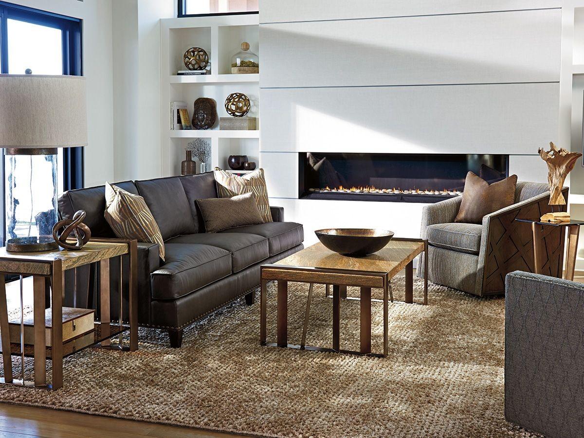 Zavala Hughes Graphite Gray Leather Living Room Set From Lexington Coleman Furniture