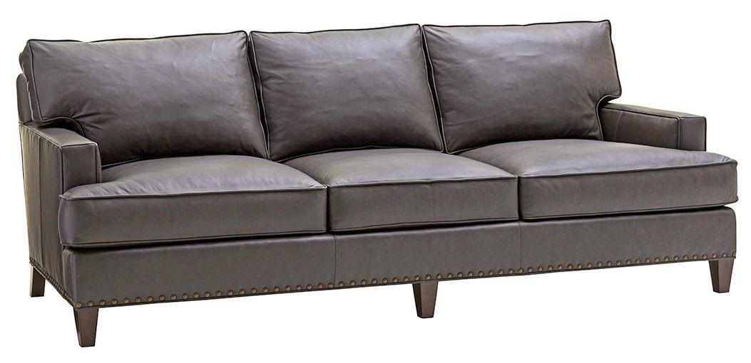 Zavala Hughes Graphite Gray Leather Sofa From Lexington