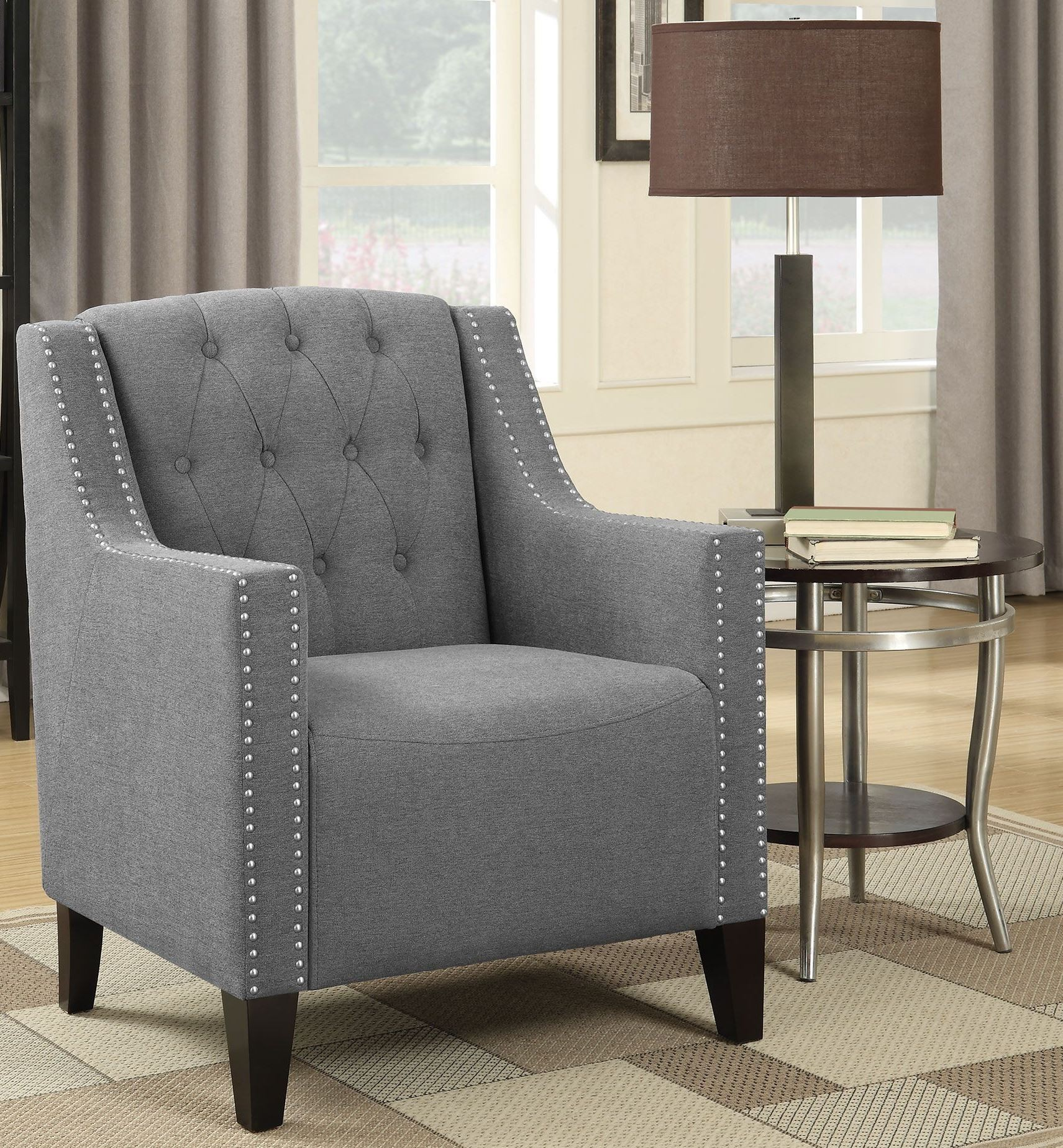 Grey And Dark Brown Accent Chair 902289 Coaster Furniture