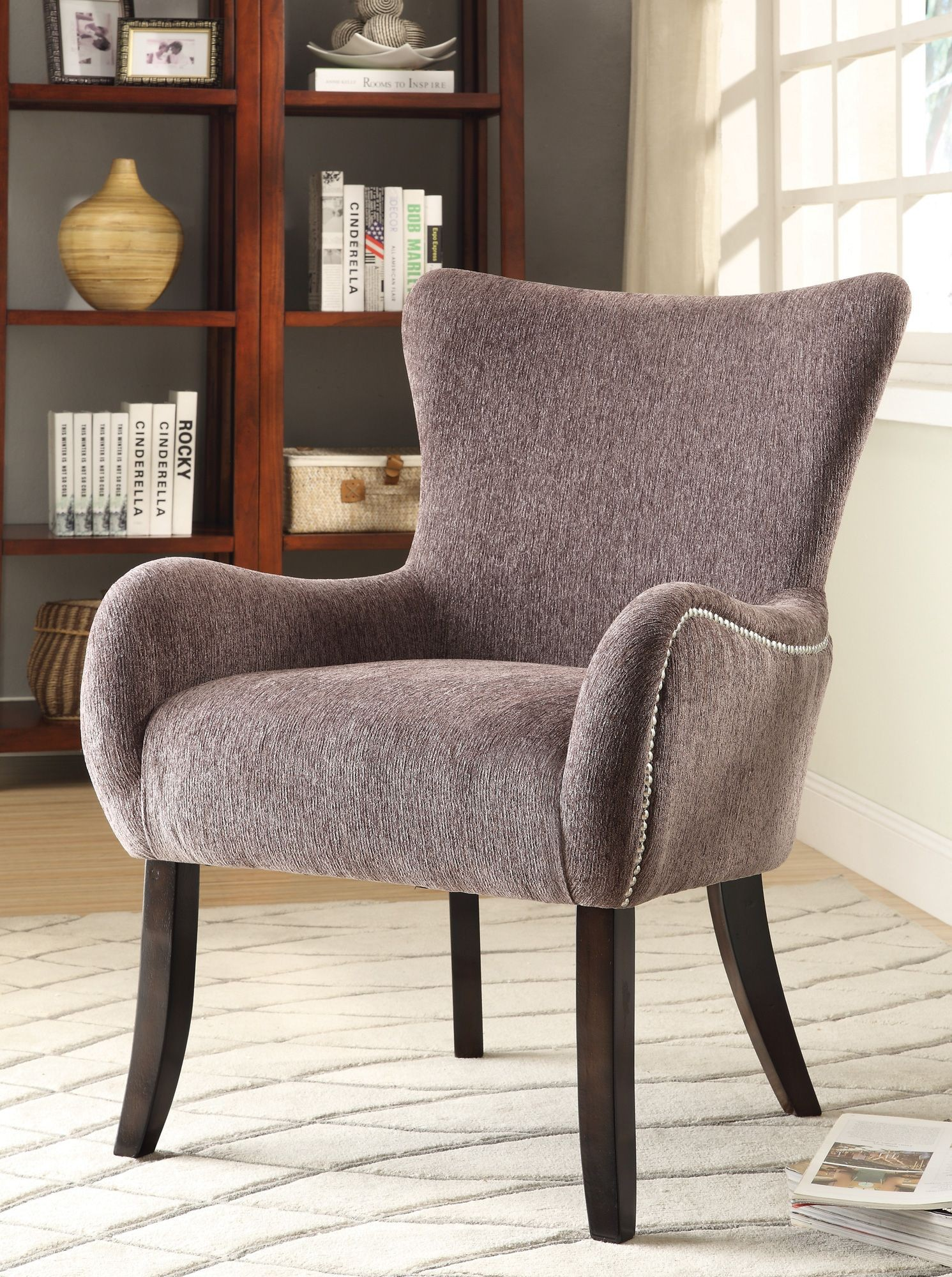 902504 Upholstered Grey Accent Chair From Coaster 902504