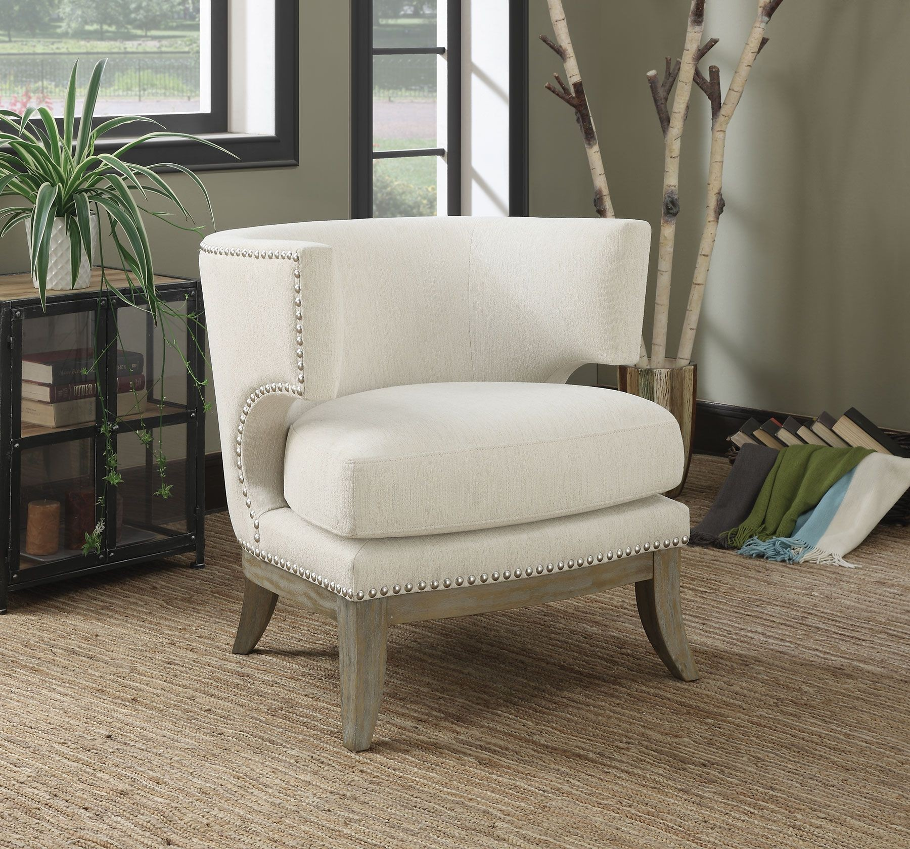 White Chenille Accent Chair From Coaster 902559