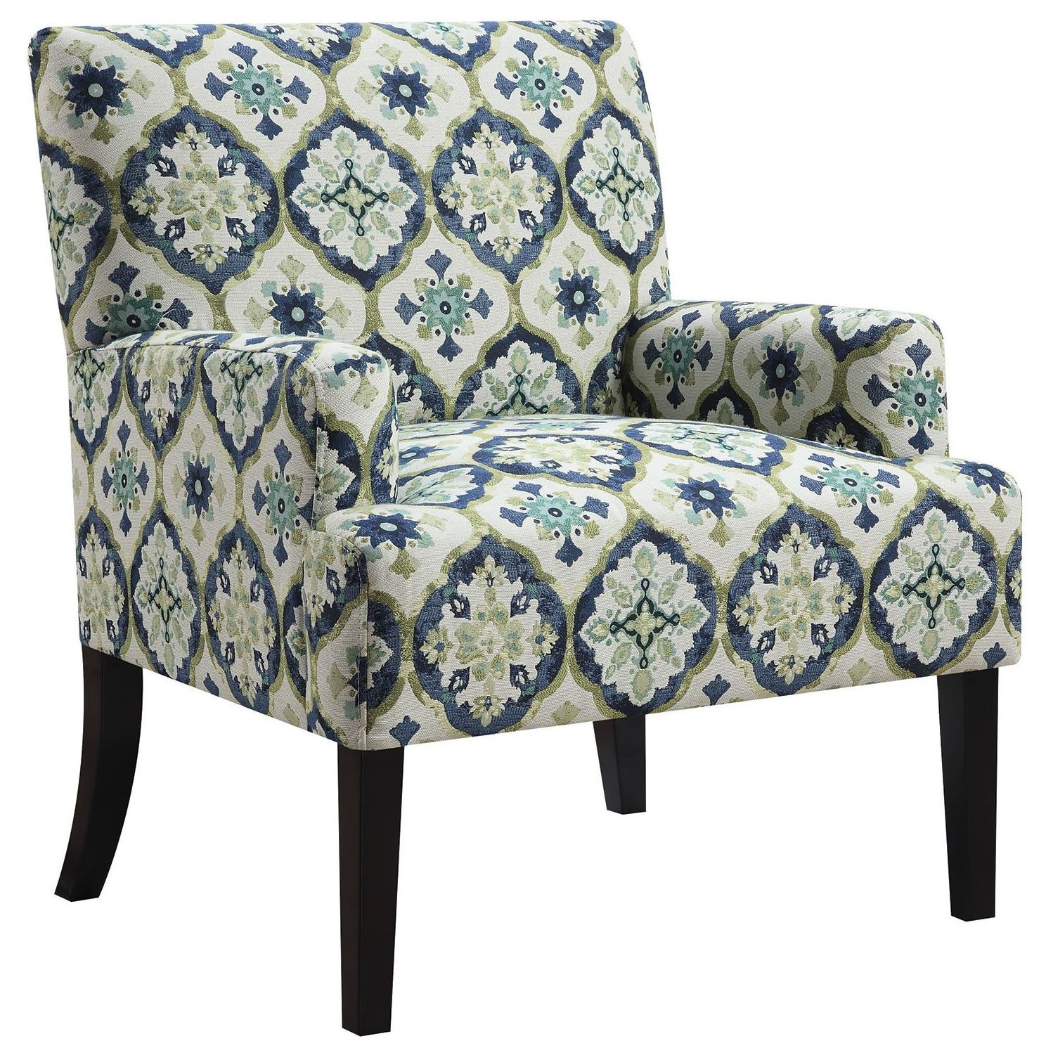 Green Pattern Accent Chair: Blue And Green Kaleidoscope Pattern Accent Chair From