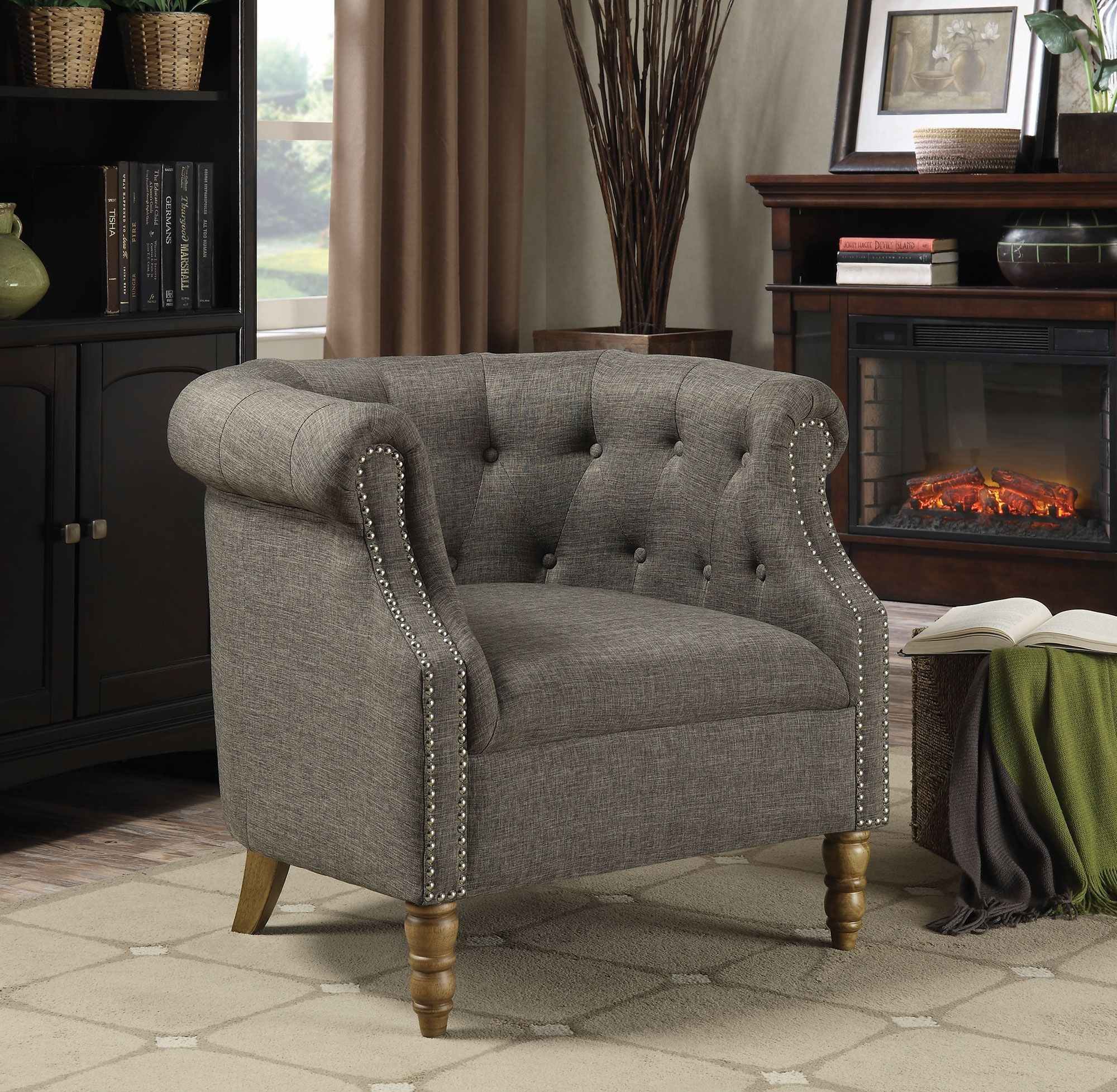 Grey Barrel Button Tufted Accent Chair from Coaster