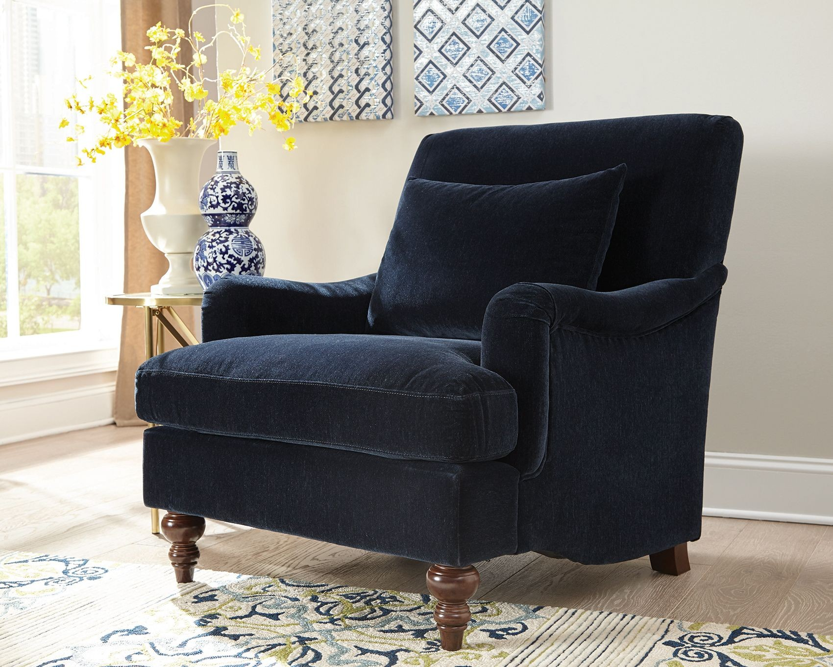 Midnight Blue Fabric Chair By Donny Osmond From Coaster