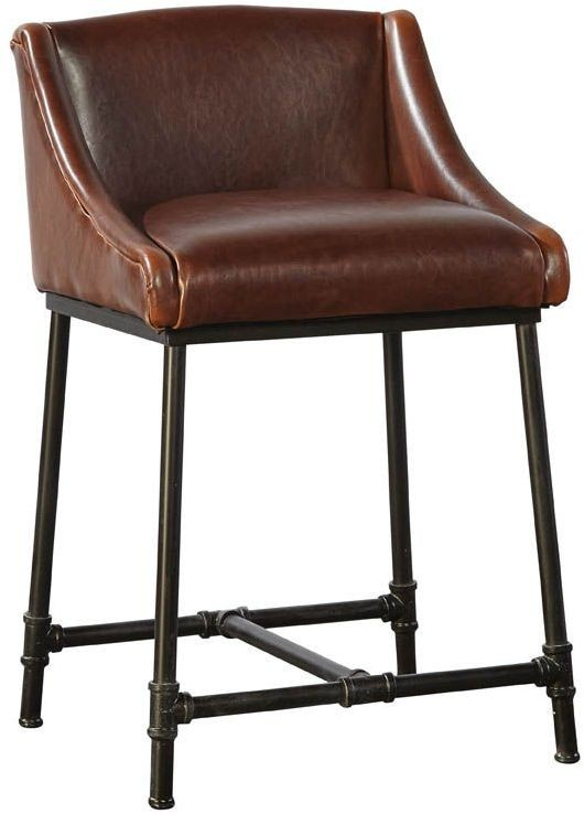 Brown Iron Pipe Counter Stool Set Of 2 From Furniture