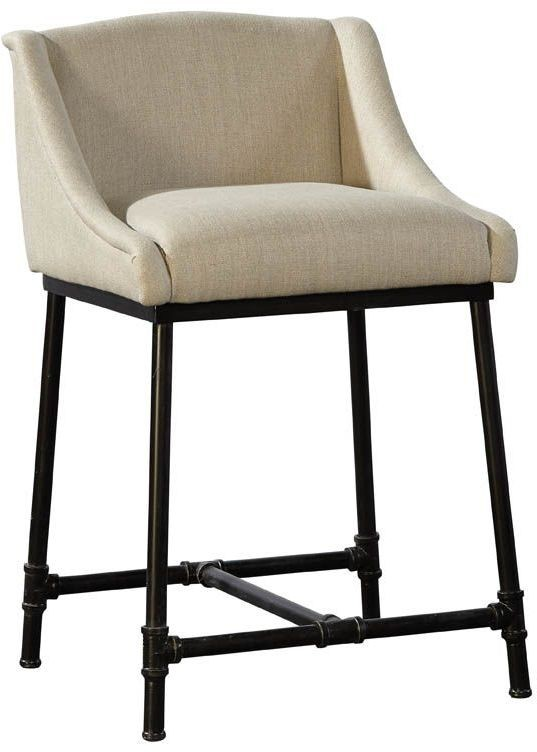 Beige Linen Amp Iron Pipe Counter Stool Set Of 2 From