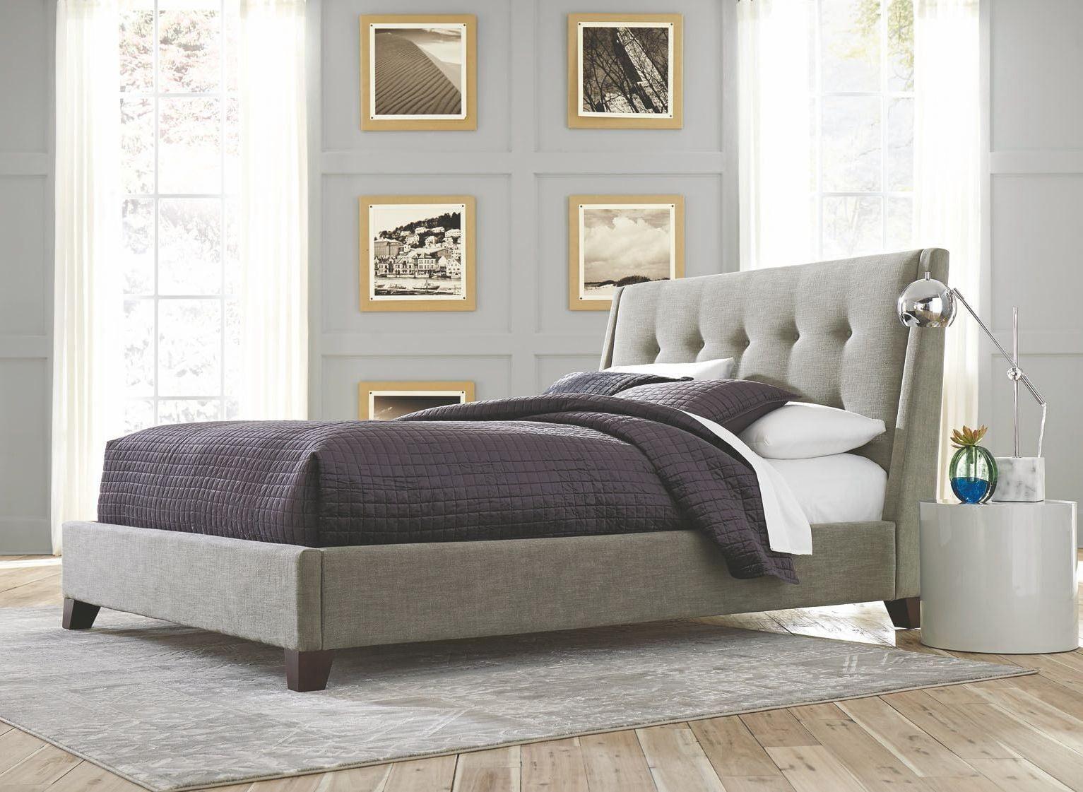ballard light gray queen upholstered bed from casana | coleman furniture