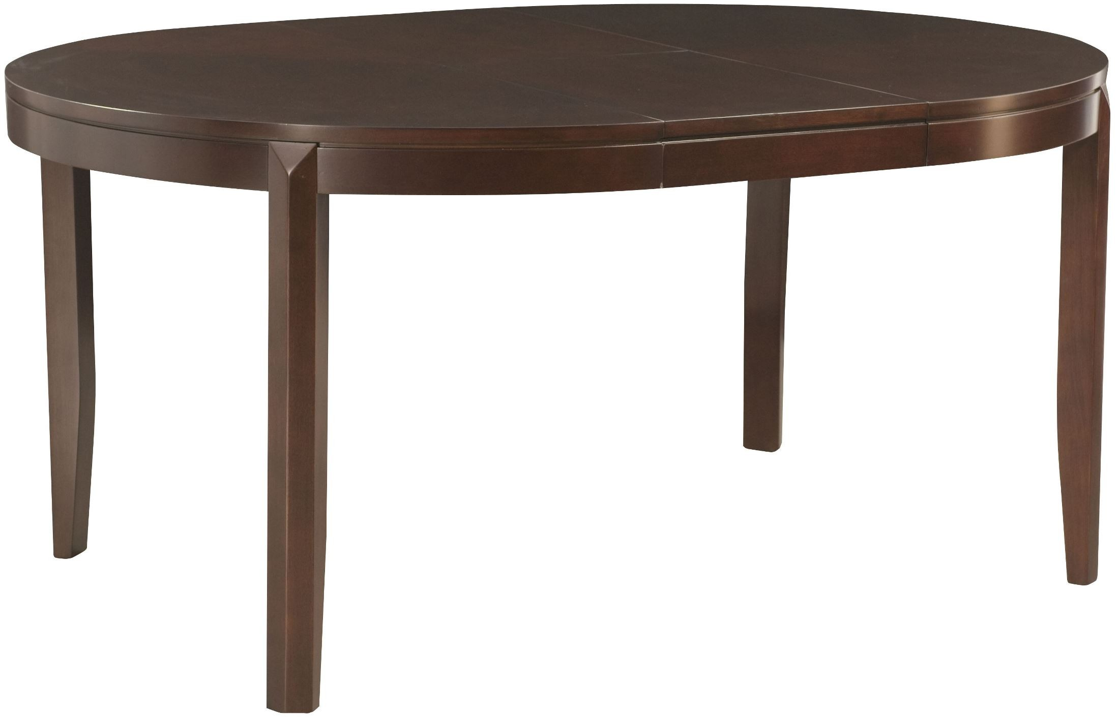 Tribecca root beer extendable round leg dining table from for One leg dining table
