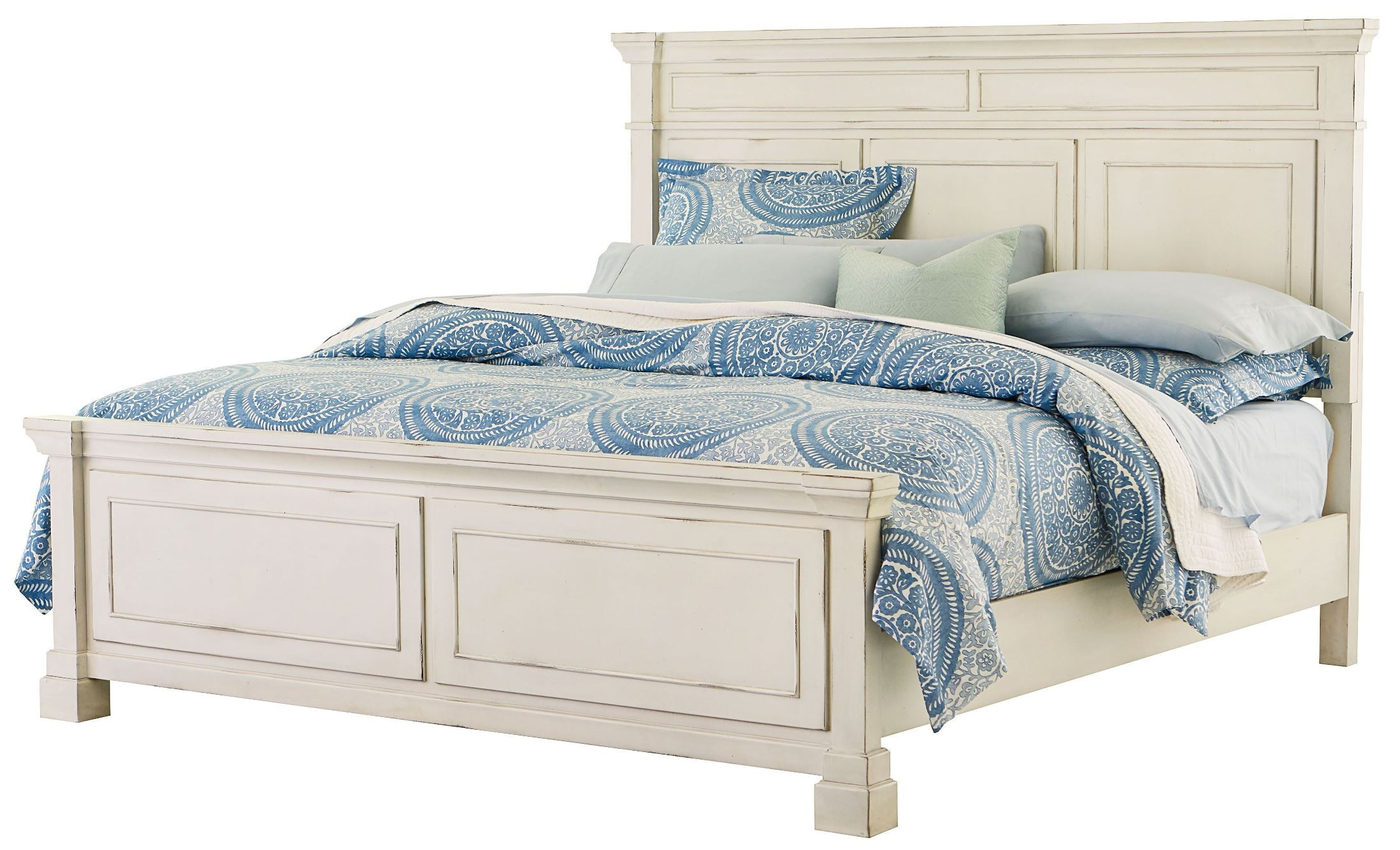White King Size Panel Bed
