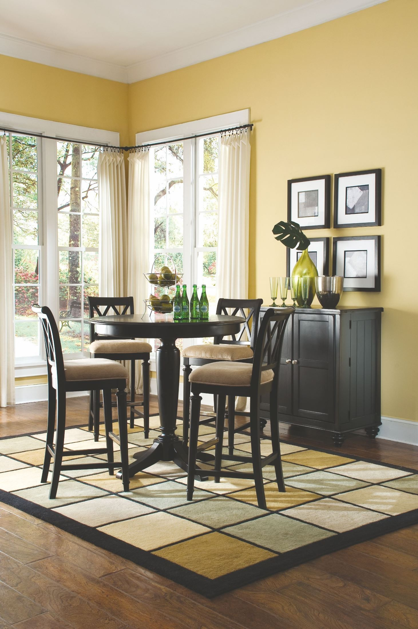 camden black round counter height pedestal dining room set from american drew 919 707r. Black Bedroom Furniture Sets. Home Design Ideas