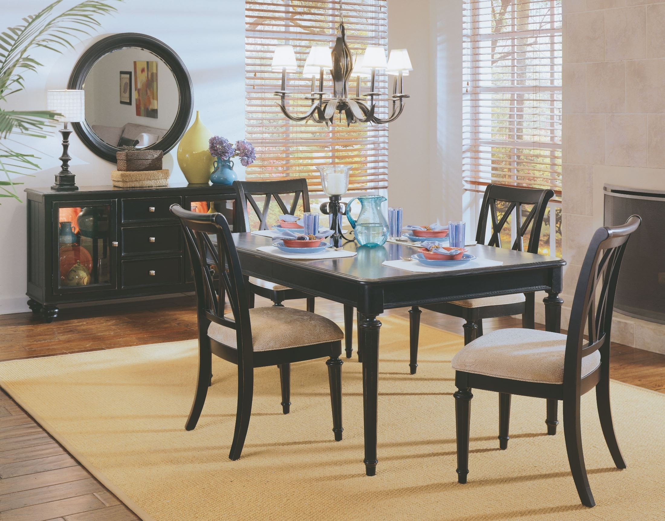 Camden black leg dining room set from american drew