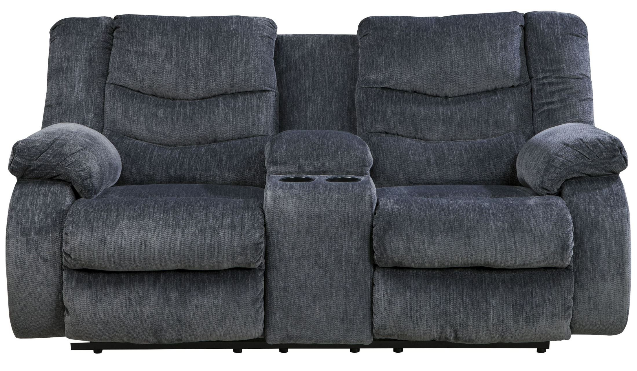 Garek Blue Double Reclining Loveseat With Console From