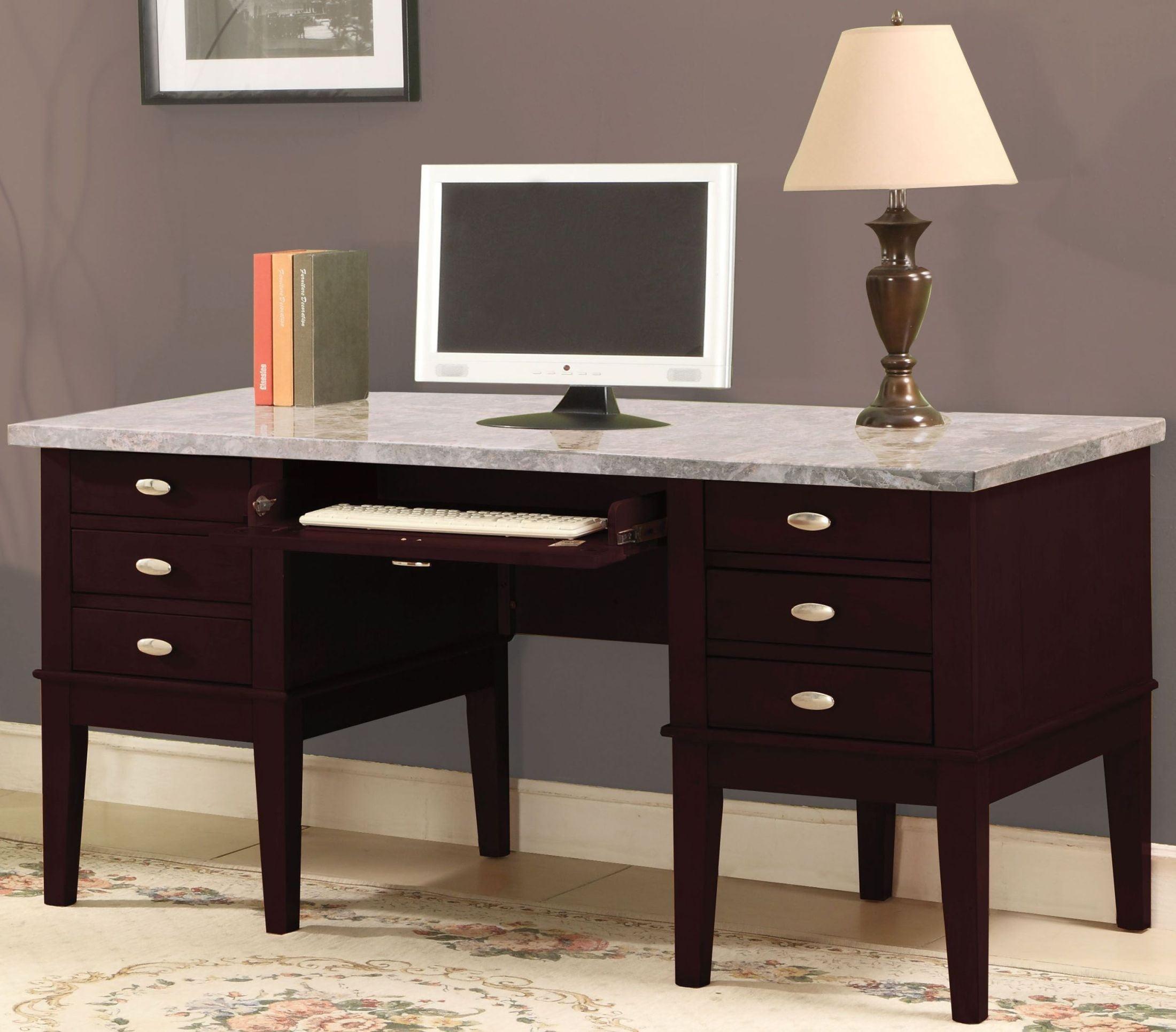 Walnut Office Desks Britney White Marble And Walnut Office Desk