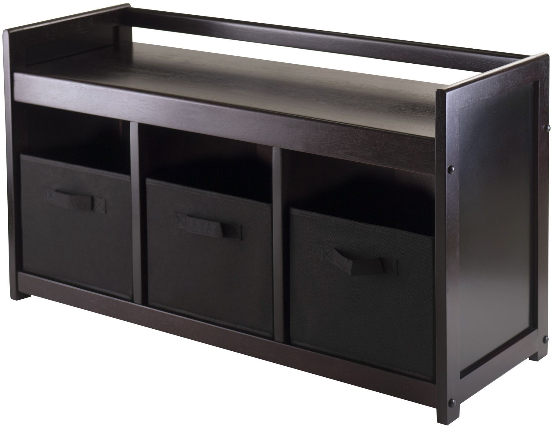 Addison Black Storage Bench With 3 Foldable Baskets From