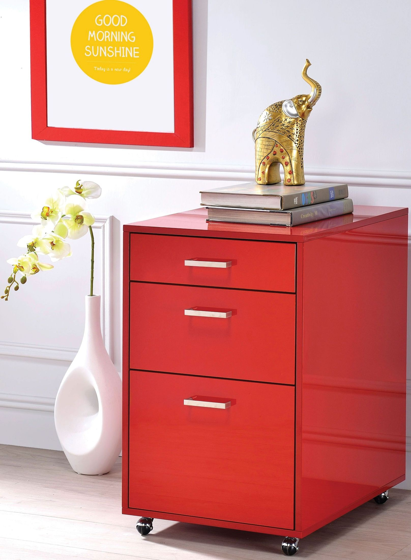 red high gloss furniture. Coleen Red High Gloss File Cabinet Furniture