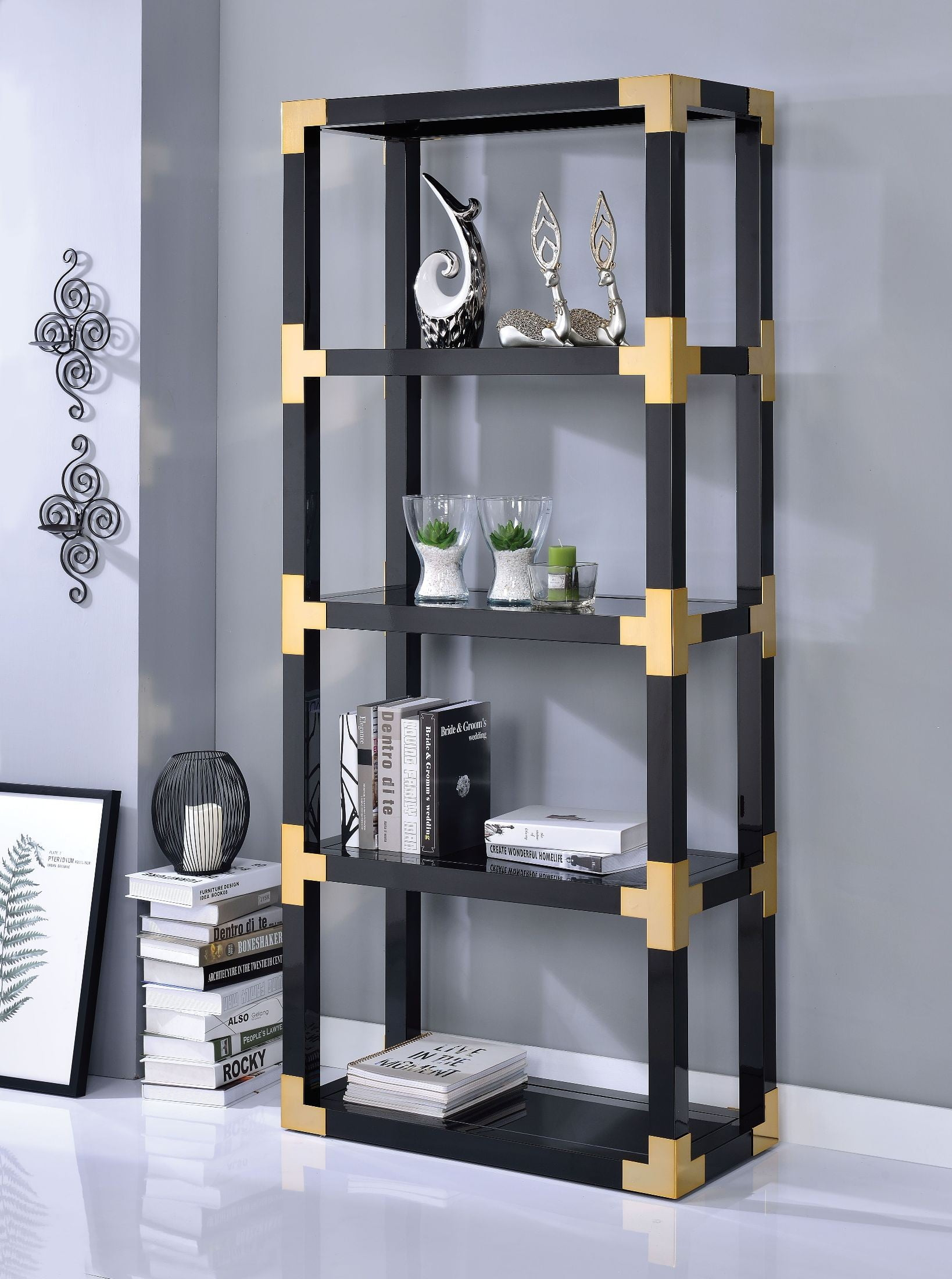 Lafty Gold And Black High Gloss Bookshelf From Acme