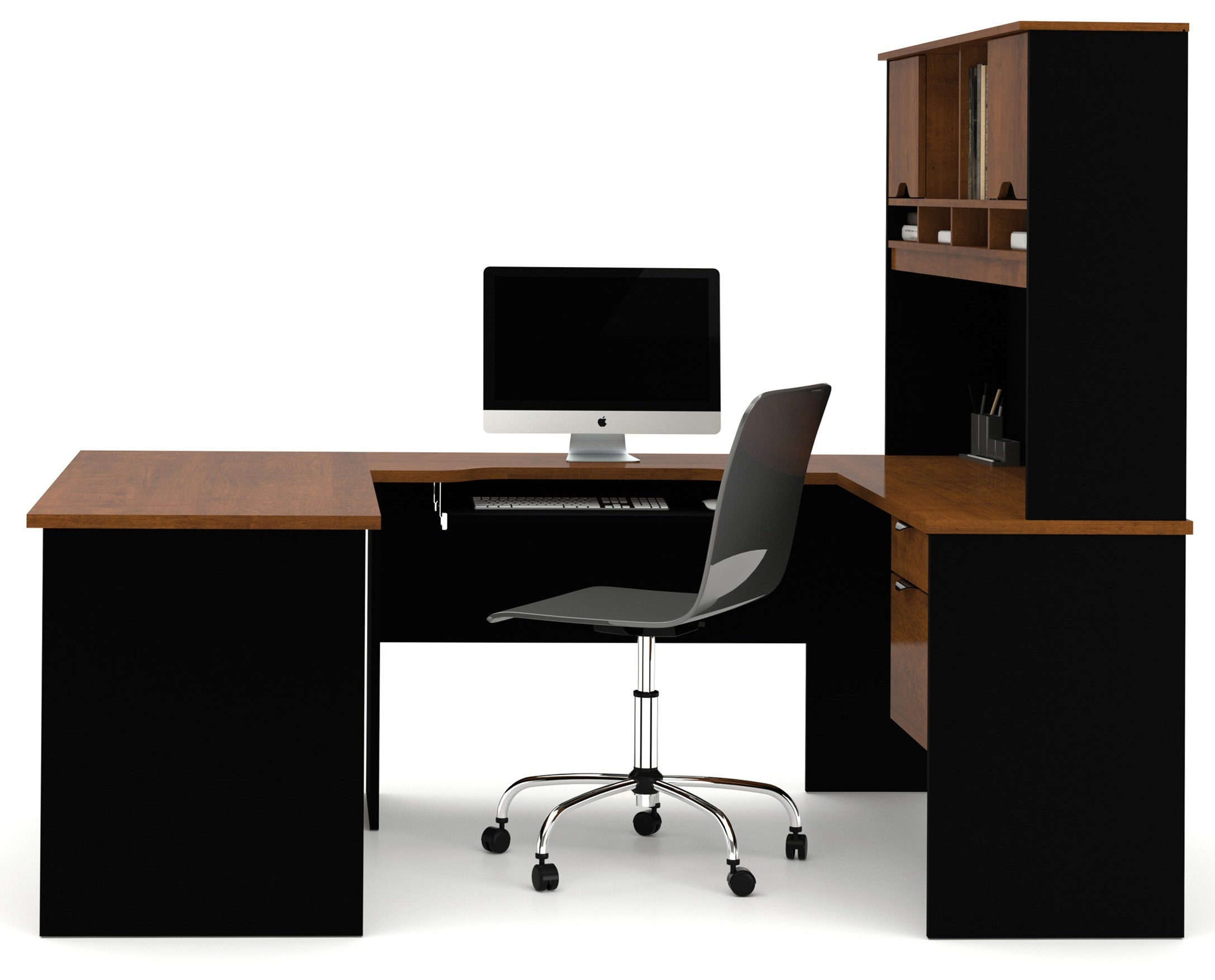 Innova U Shaped Workstation Kit In Tuscany Brown Amp Black