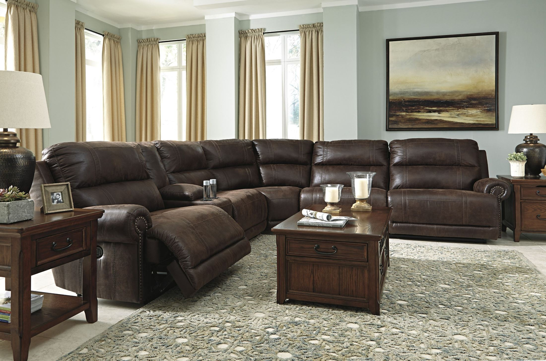Luttrell Espresso Reclining Sectional From Ashley 9310140