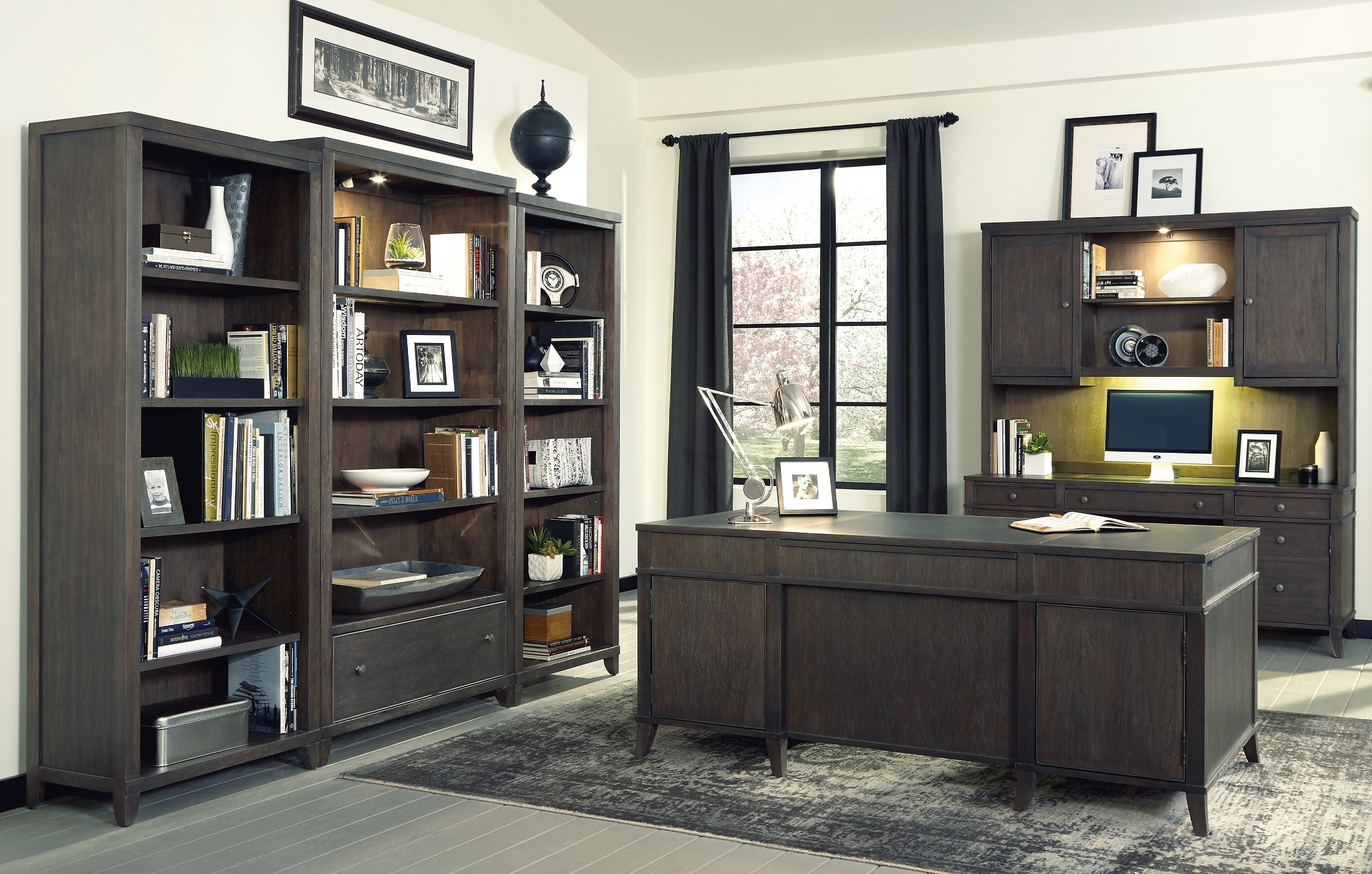 urban gray executive desk home office set from hekman