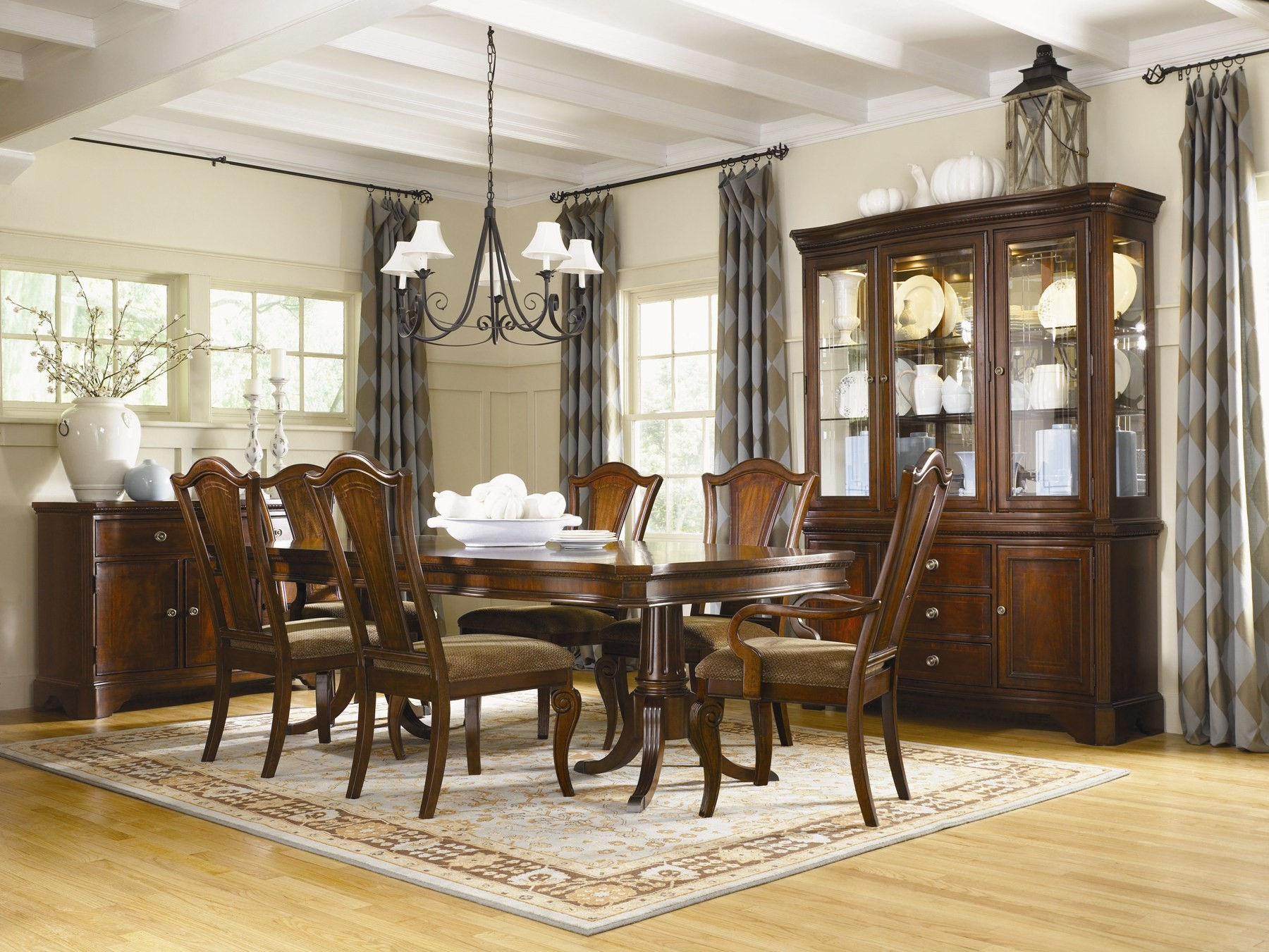 American Traditions Rectangular Extendable Pedestal Dining ...