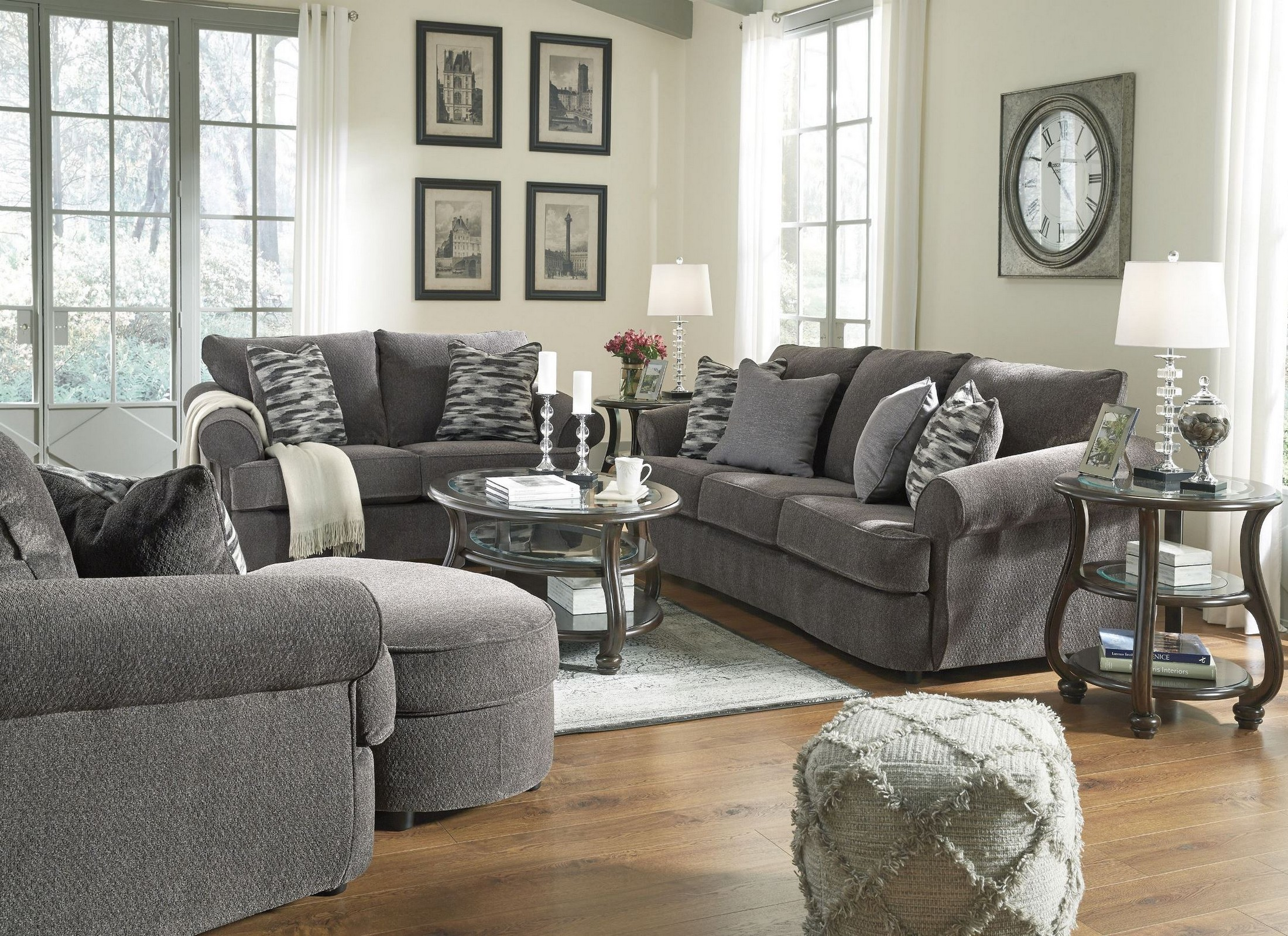 astounding white brown living room furniture | Yexenburg Dark Brown Oval Occasional Table Set from Ashley ...