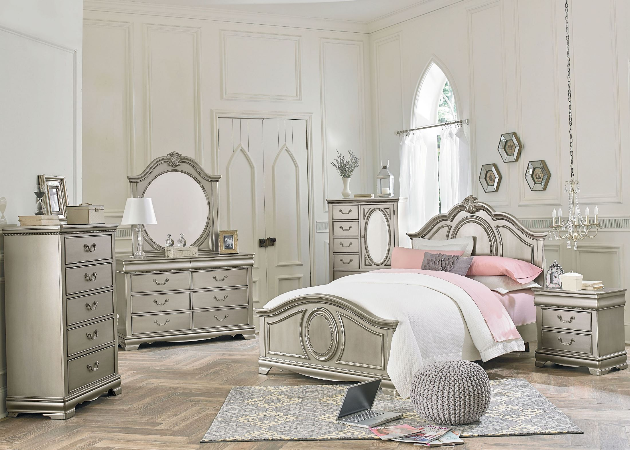 jessica silver posh silver youth panel bedroom set from