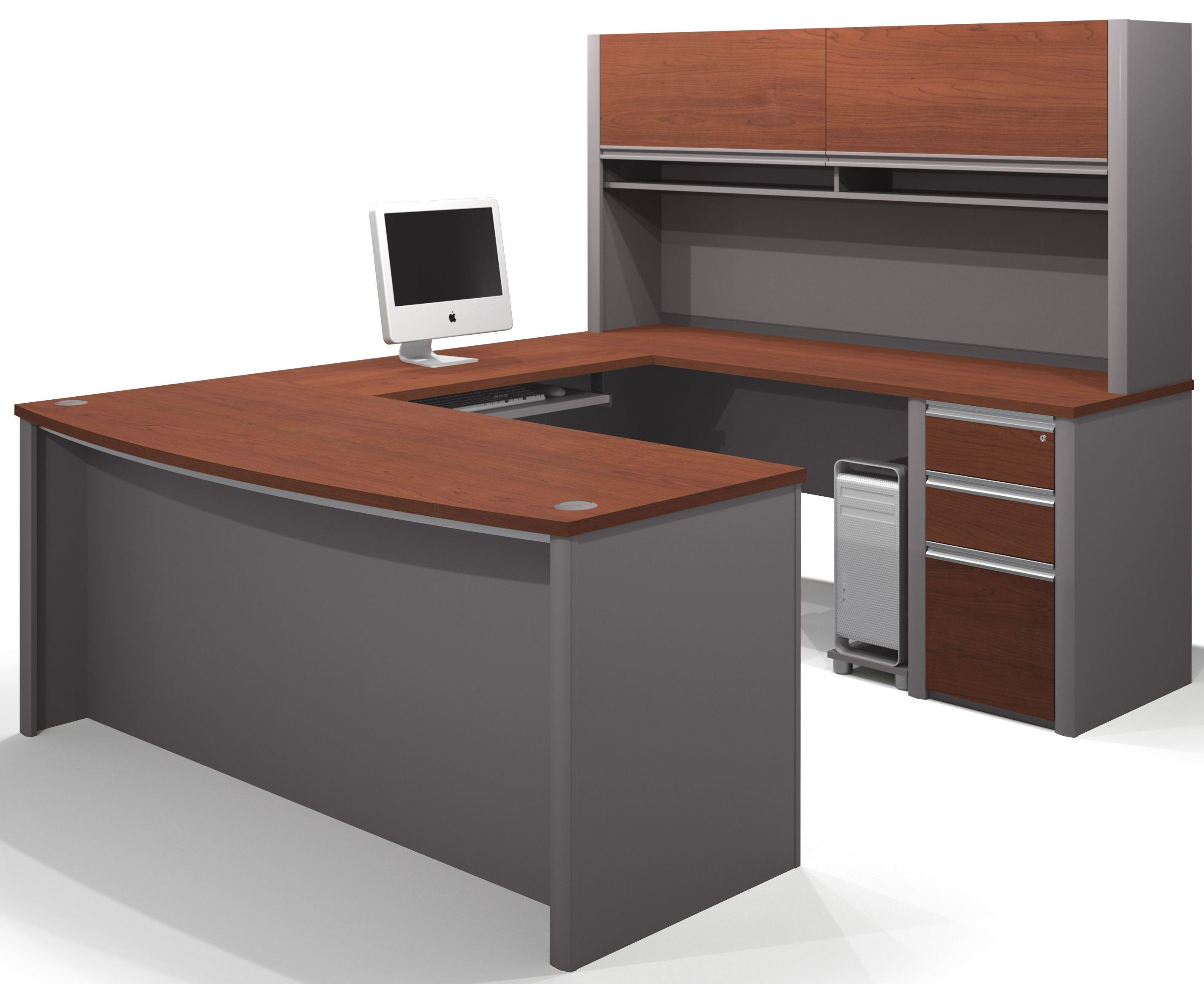 Connexion bordeaux slate u shaped workstation with small for Furniture 2 u