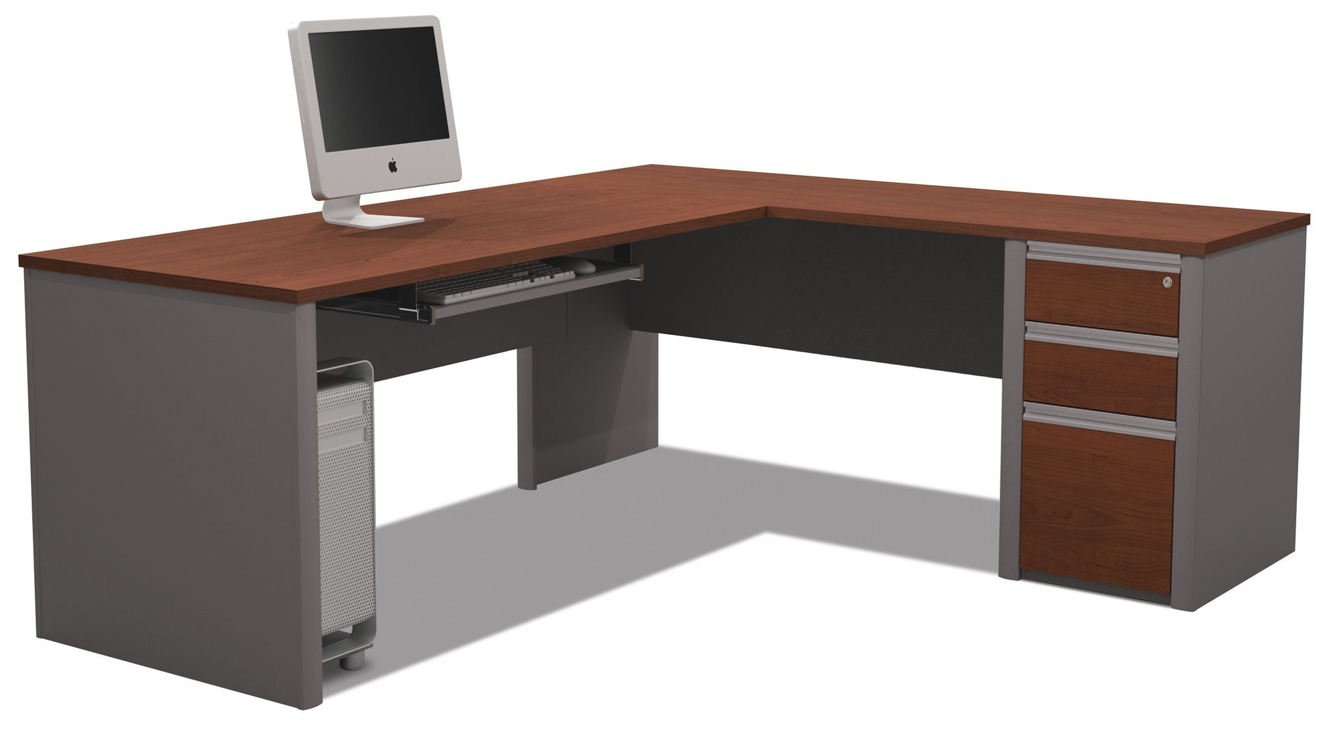 Connexion Bordeaux Amp Slate L Shaped Desk From Bestar