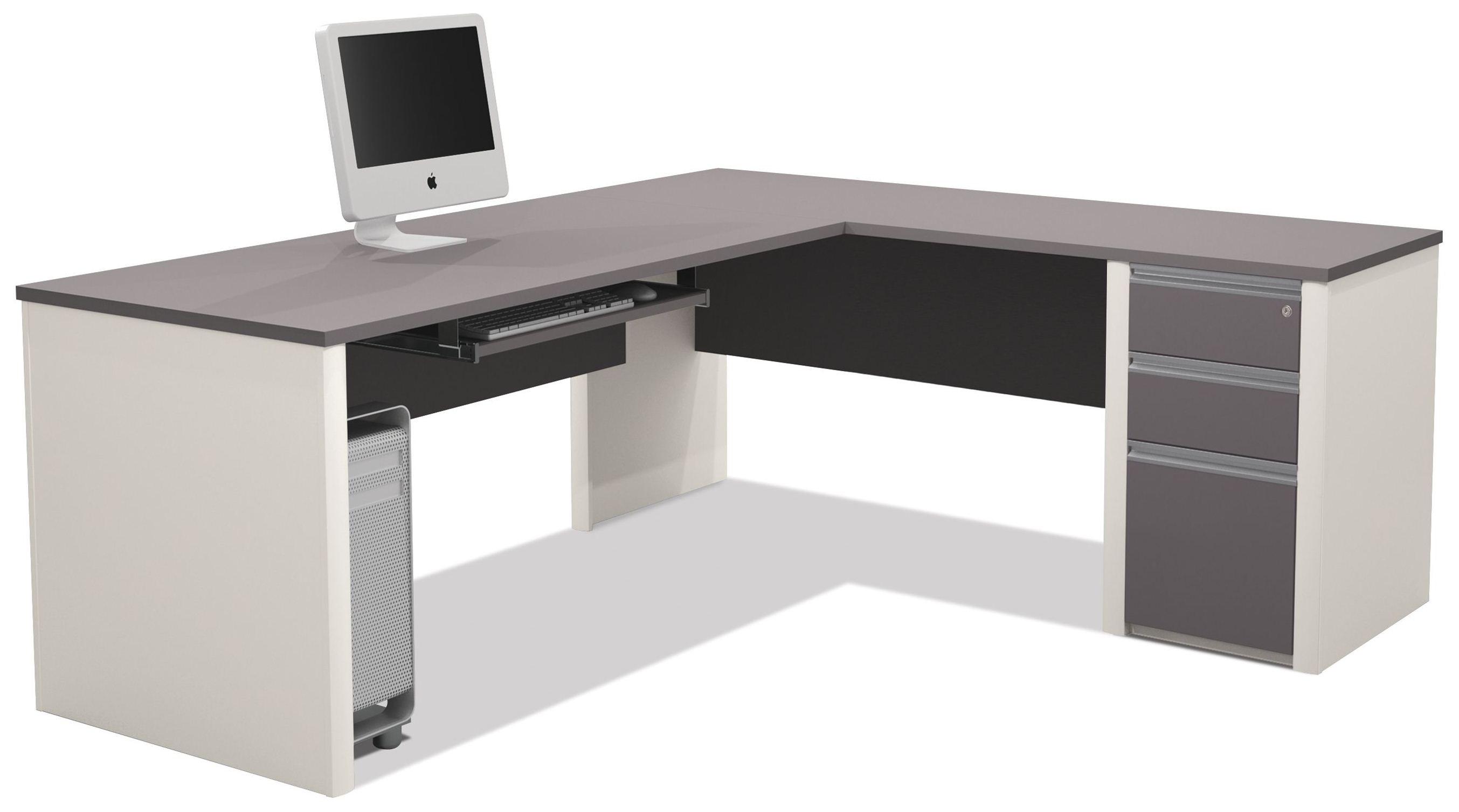 Connexion Slate Amp Sandstone L Shaped Desk From Bestar