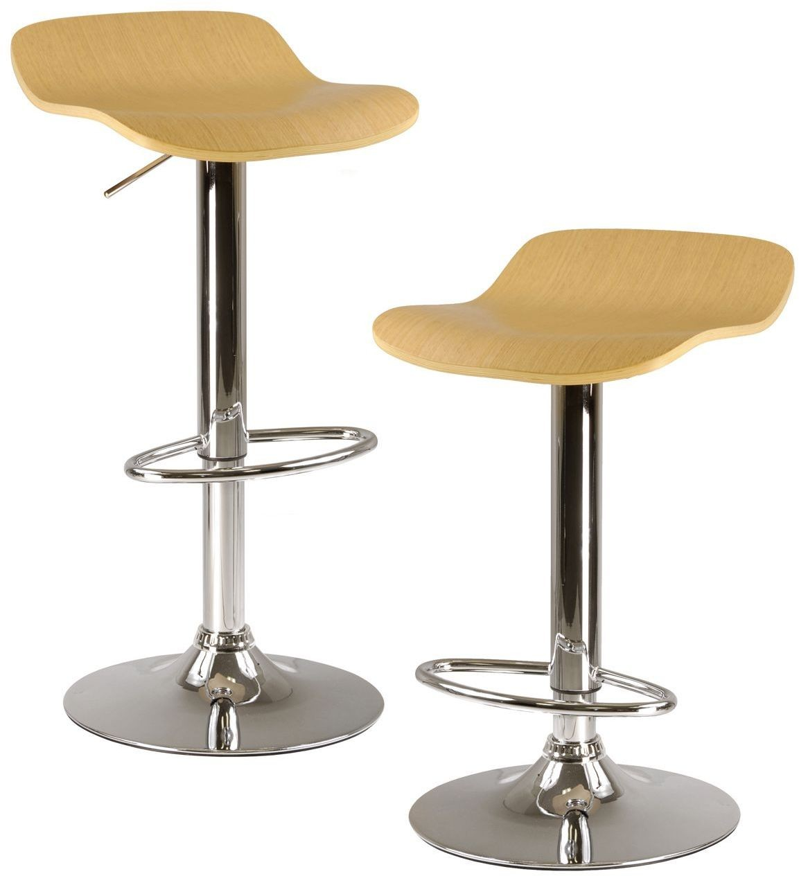 Kallie Natural Air Lift Adjustable Stool Set Of 2 From