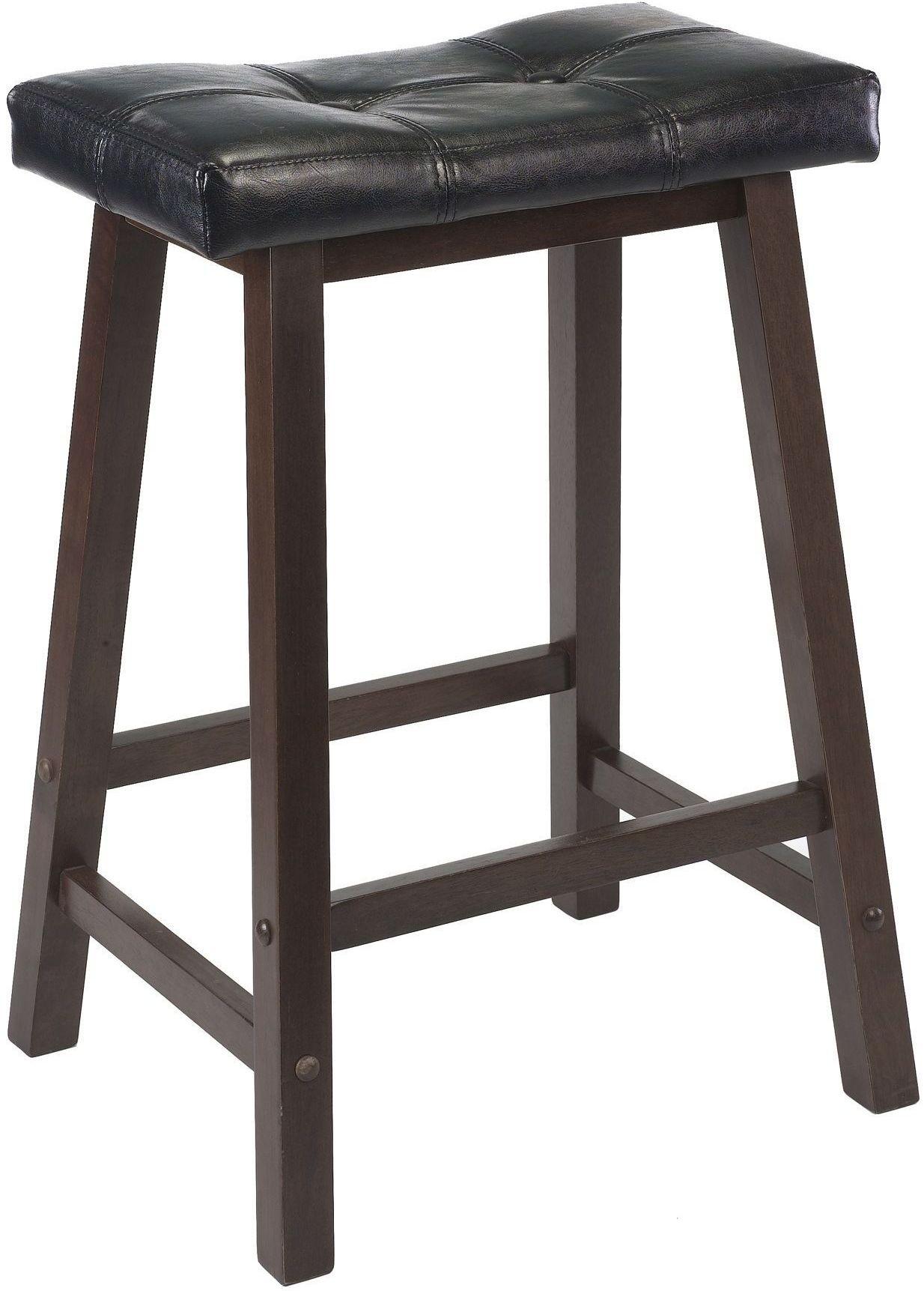 Mona Black Upholstered 24 Quot Cushion Saddle Seat Stool Set