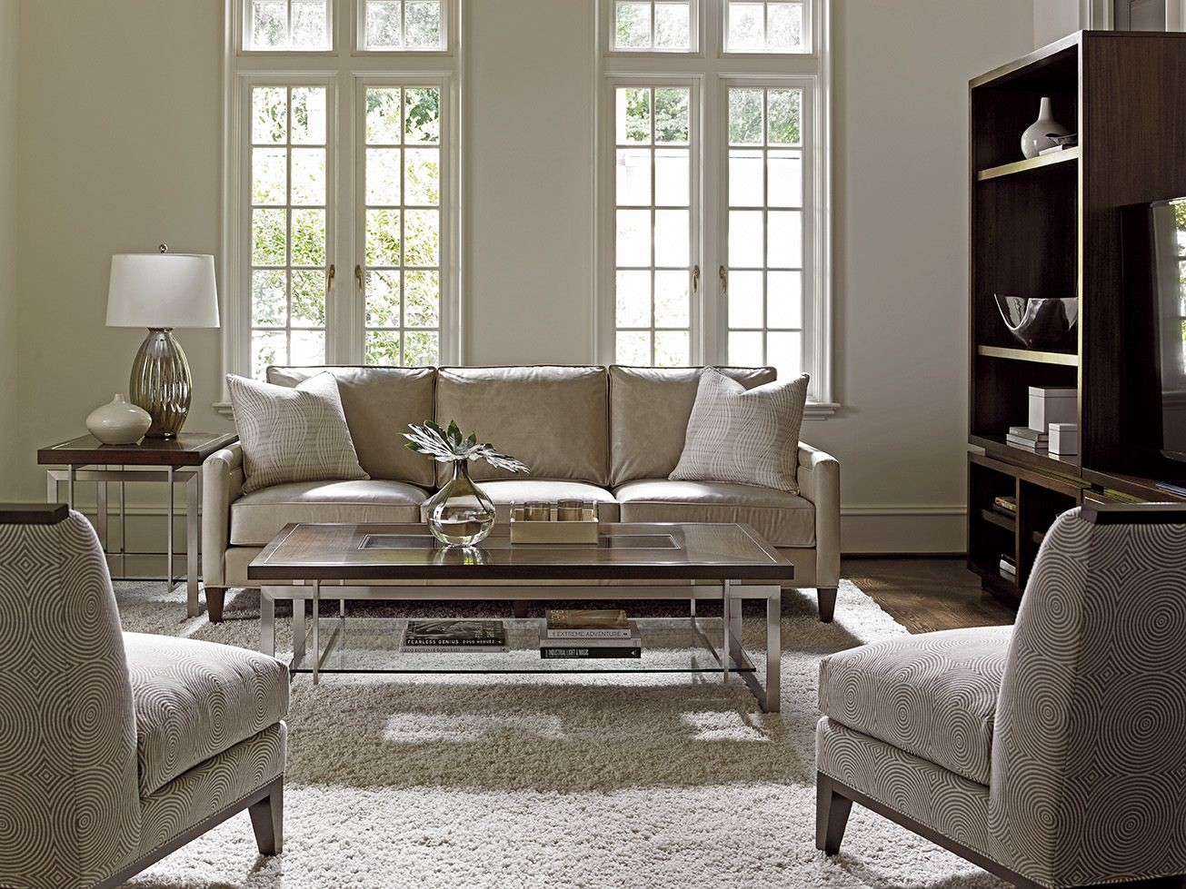 Macarthur Park Foxboro Gray Leather Living Room Set From