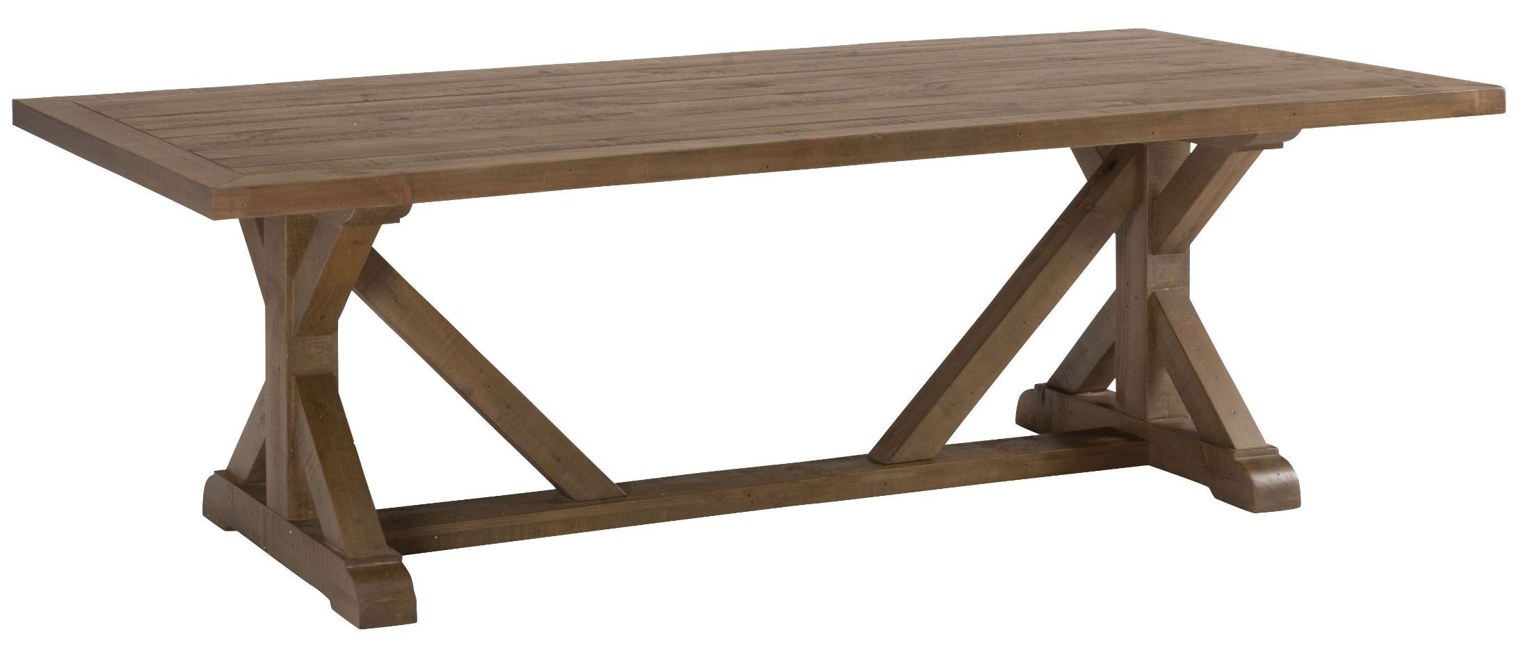 Slater Mill Reclaimed Pine Trestle Dining Table From