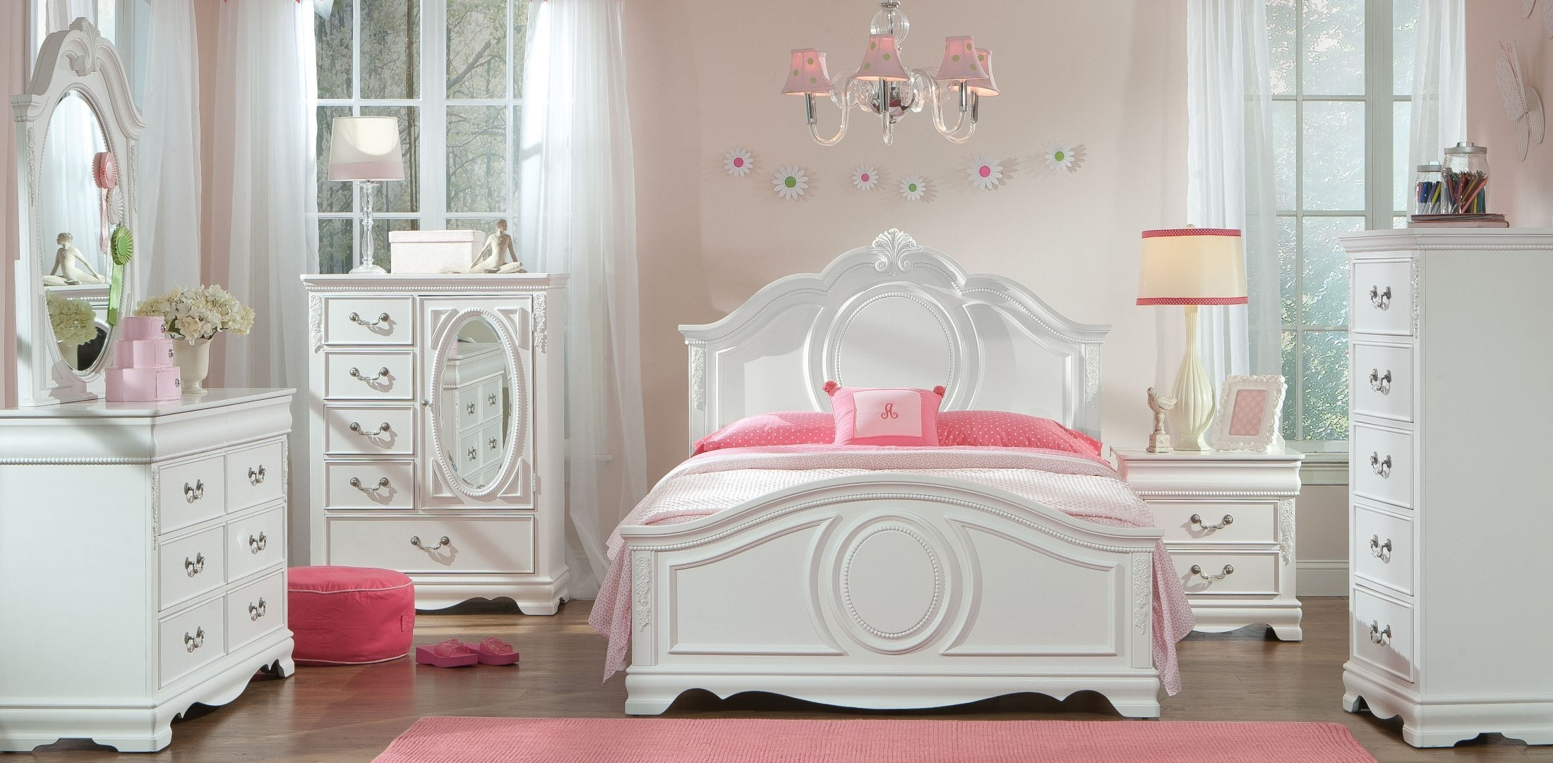 Jessica Clean Paint White Youth Panel Bedroom Set, 942-01-02-03 ...