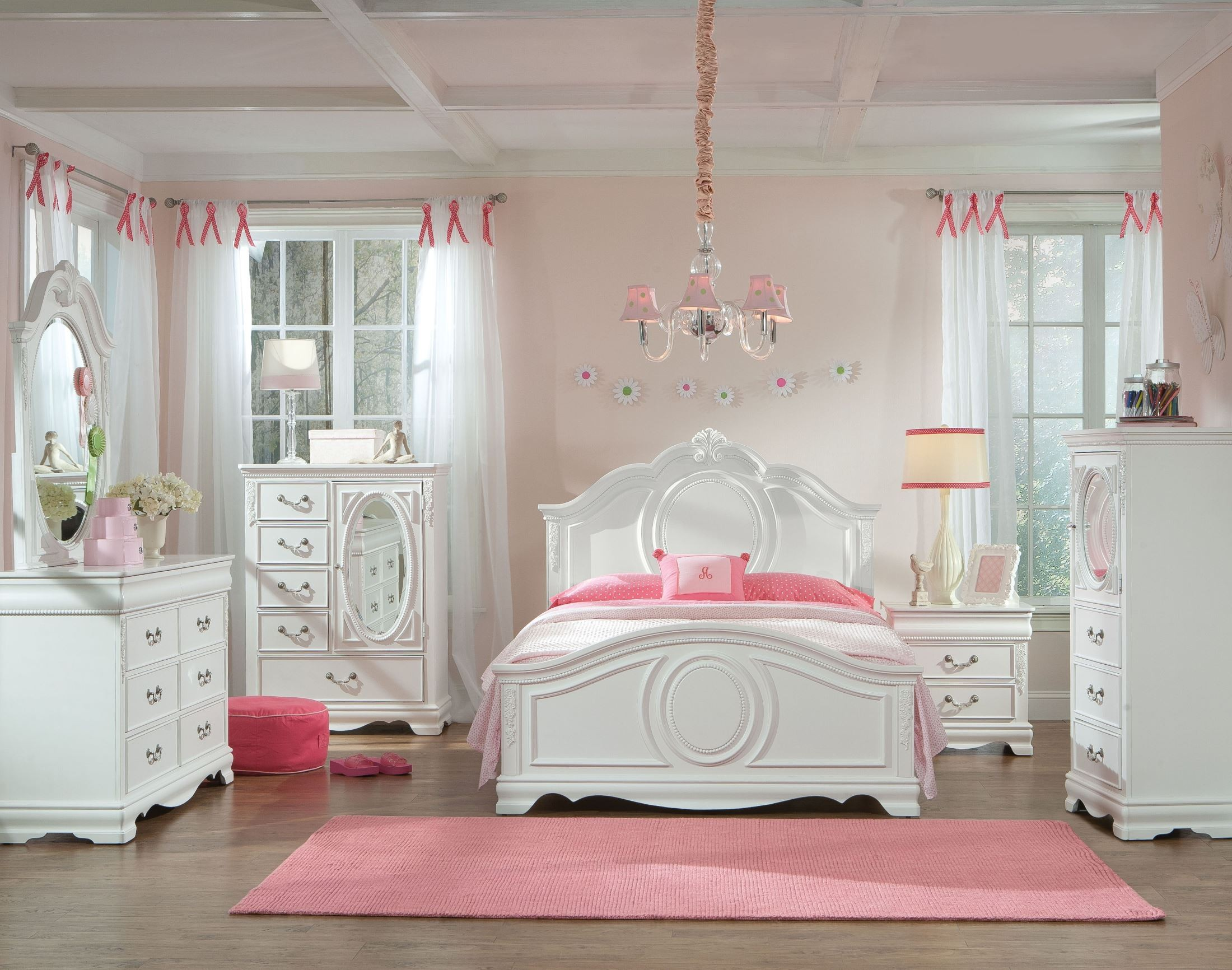 Attractive Jessica Bedroom Collection Part - 1: Jessica Clean White Youth Panel Bedroom Set