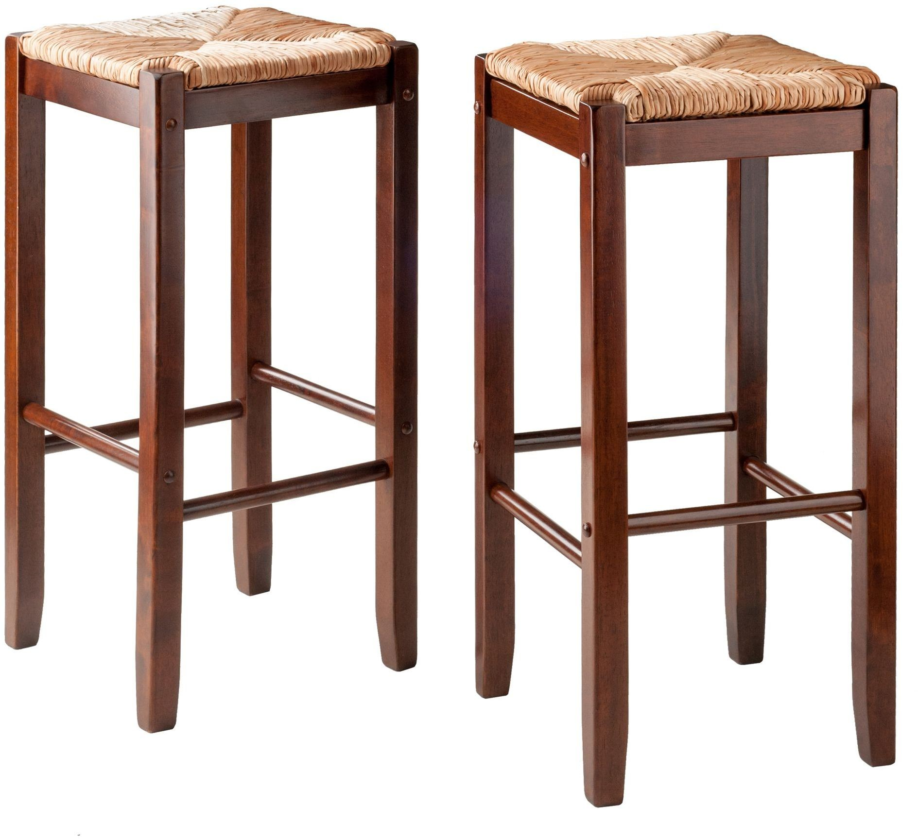 Kaden Walnut Rush Seat Bar Stool Set Of 2 From Winsomewood