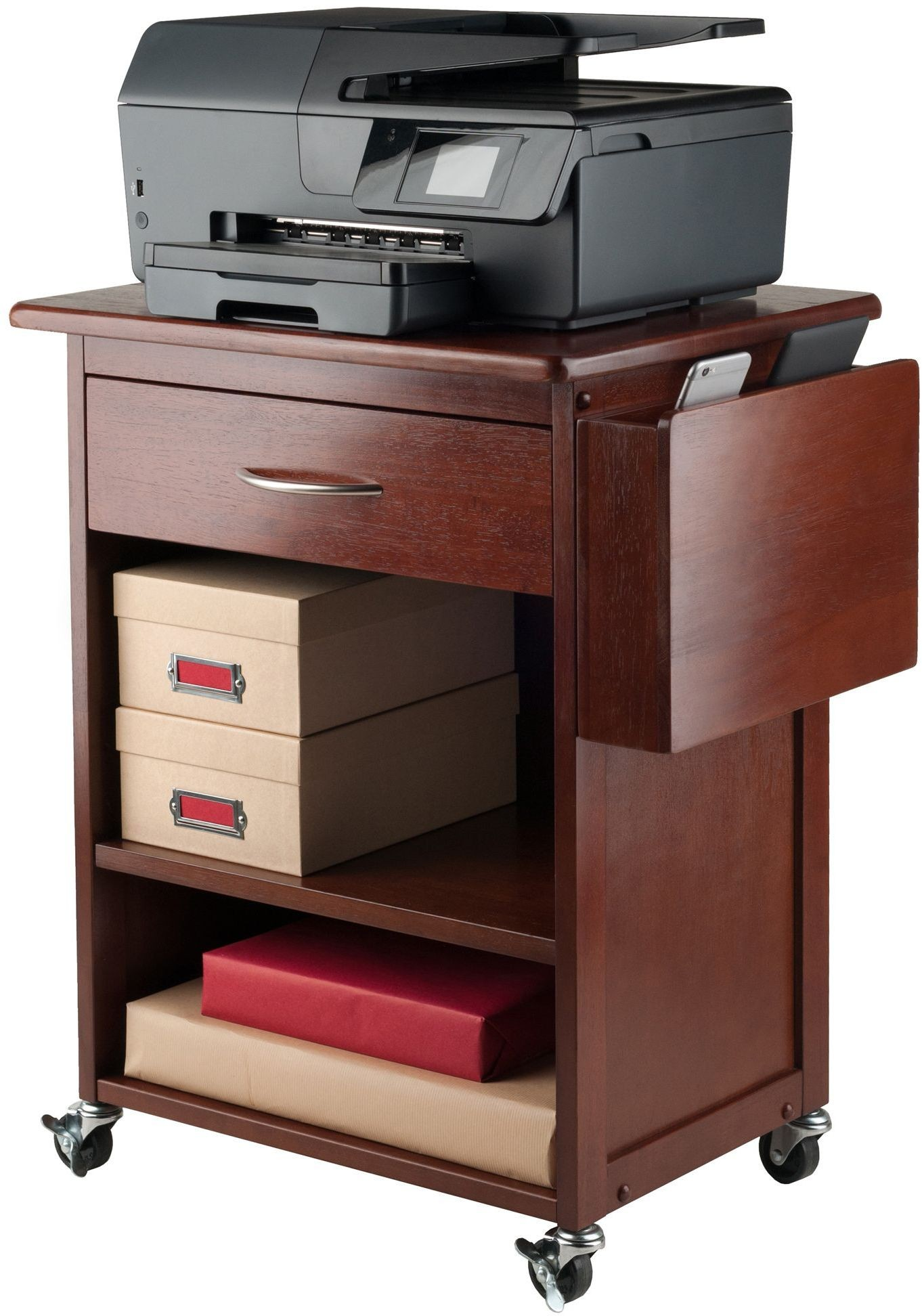 Maxwell Walnut Media Cart With Gadget Caddy From WinsomeWood | Coleman  Furniture
