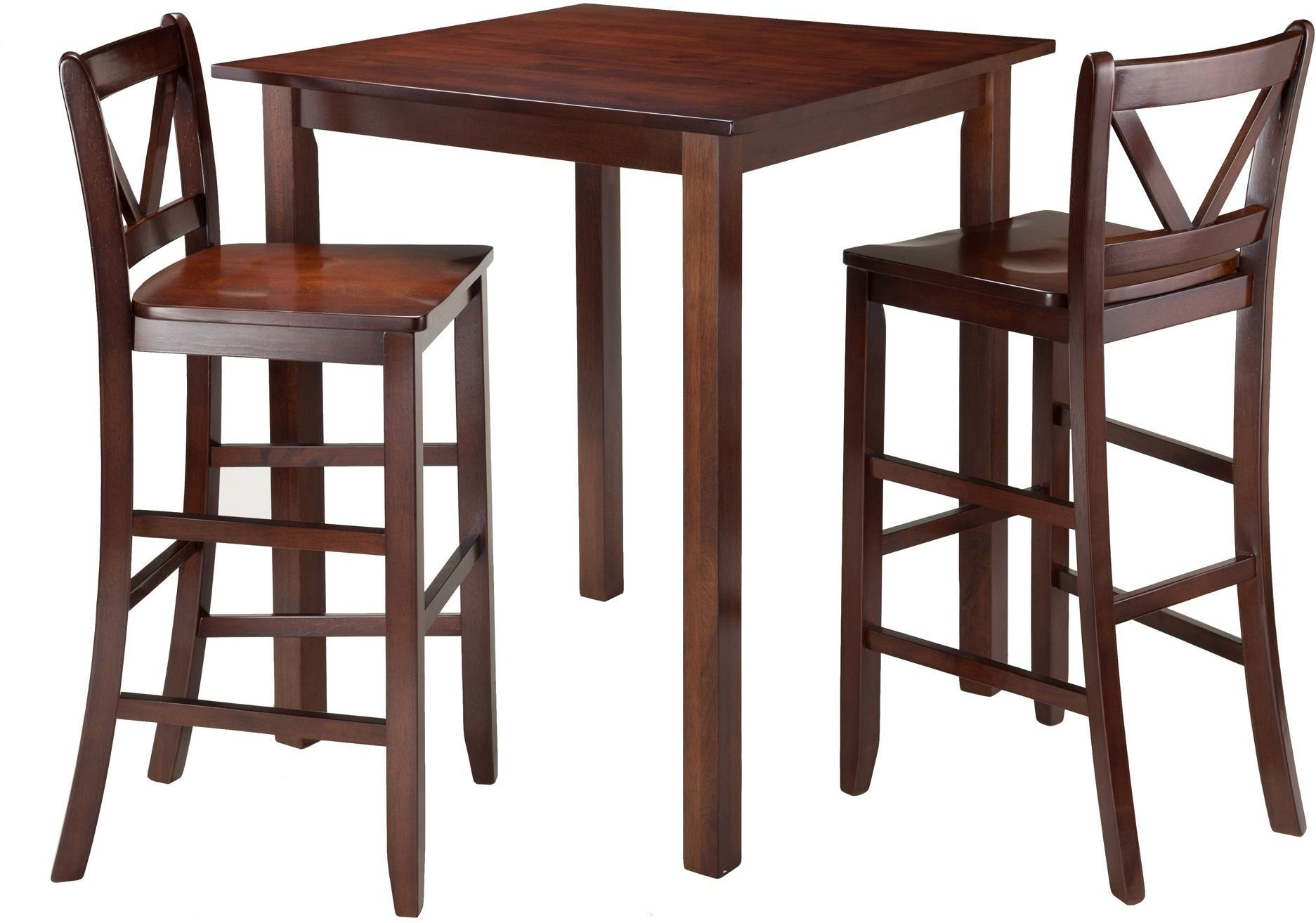 Parkland Walnut 3 Piece Counter Height Dining Set With 2 V