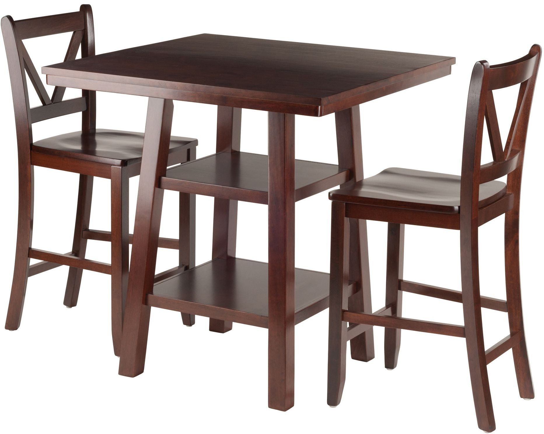 Orlando 3 Piece Walnut Counter Height Dining Set With V