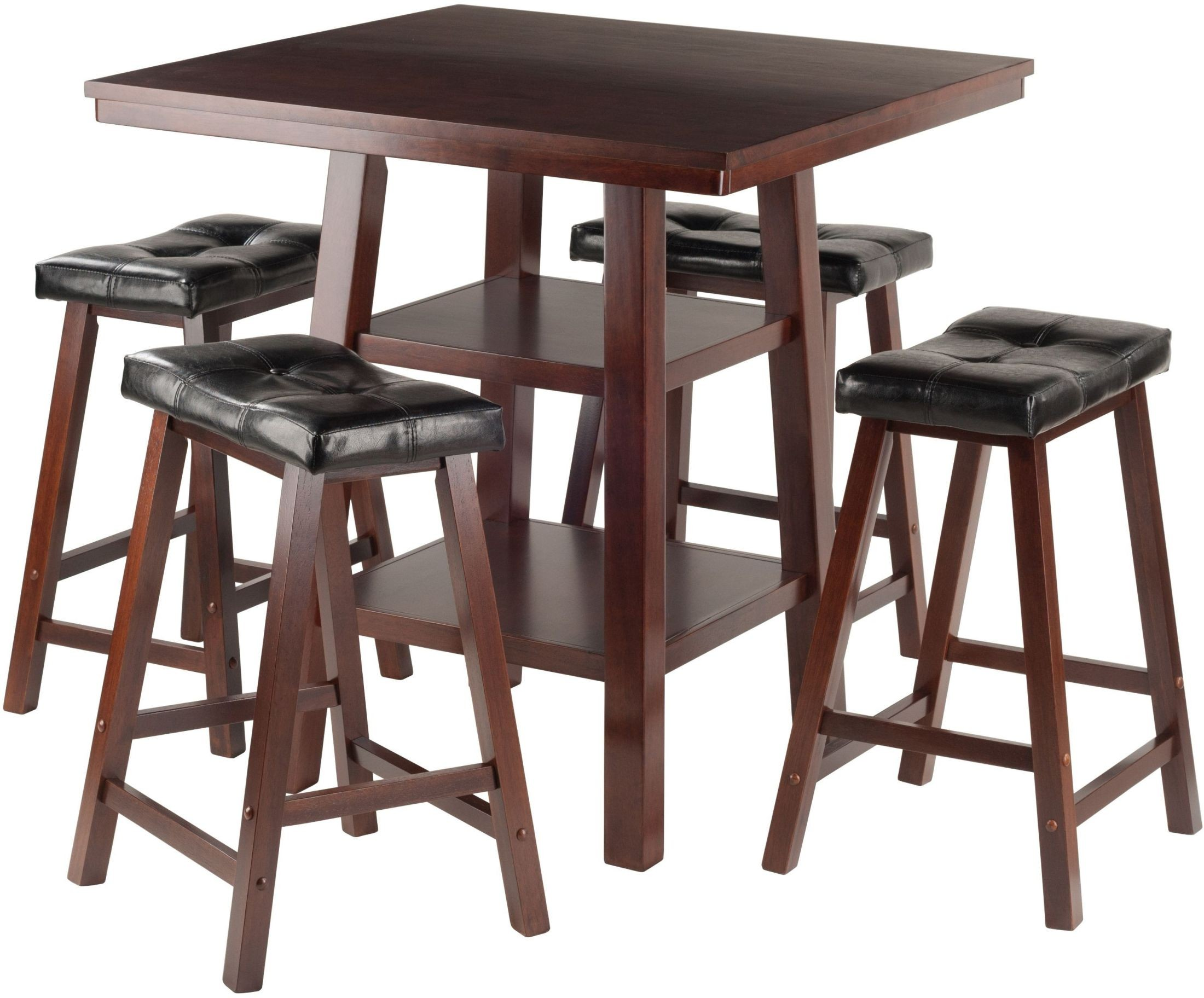 Orlando 5 Piece Walnut Counter Height Dining Set With 4