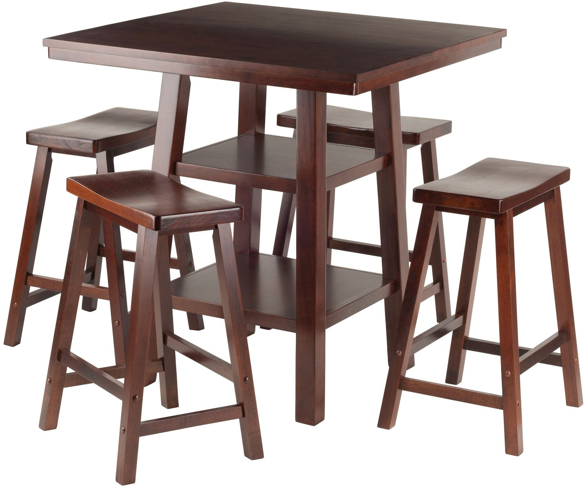 Orlando 5 Piece Walnut Counter Height Dining Set With