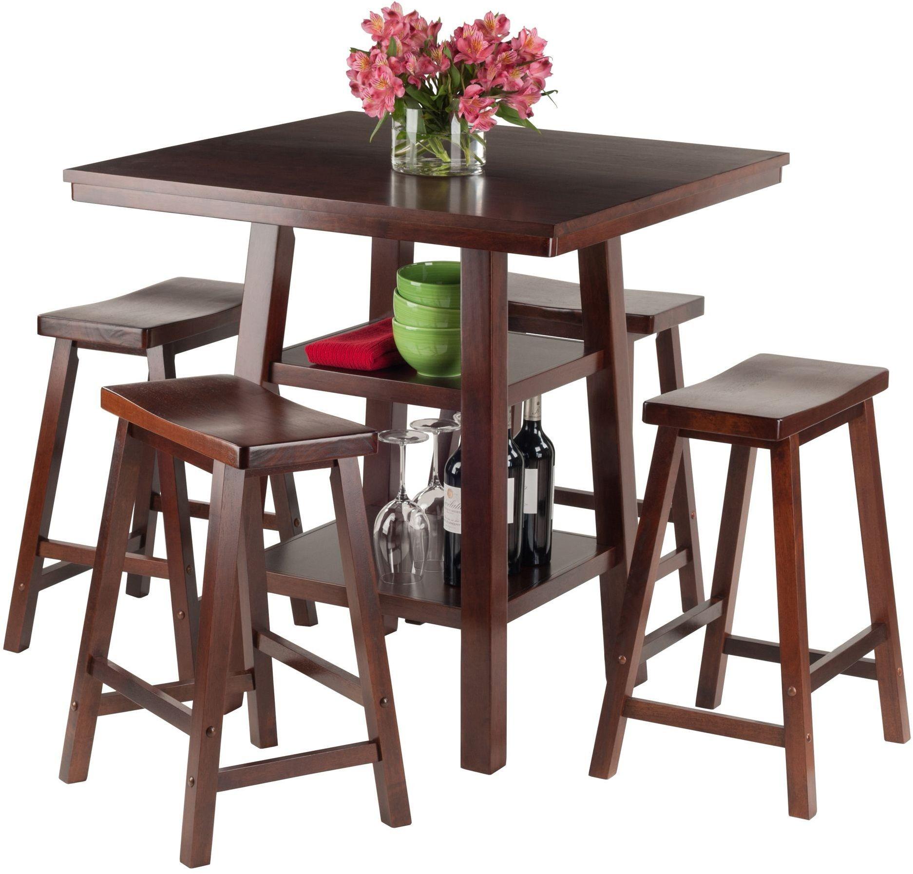 Orlando 5 Piece Walnut Counter Height Dining Set With